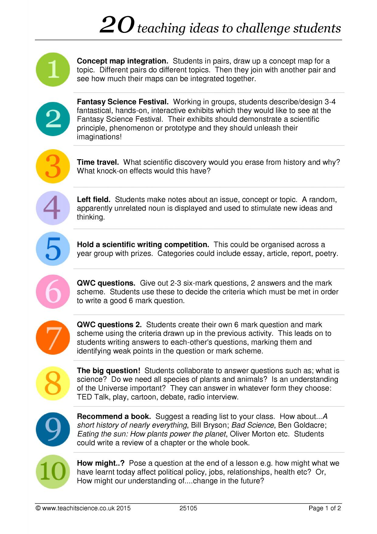20 teaching ideas to challenge students in Science