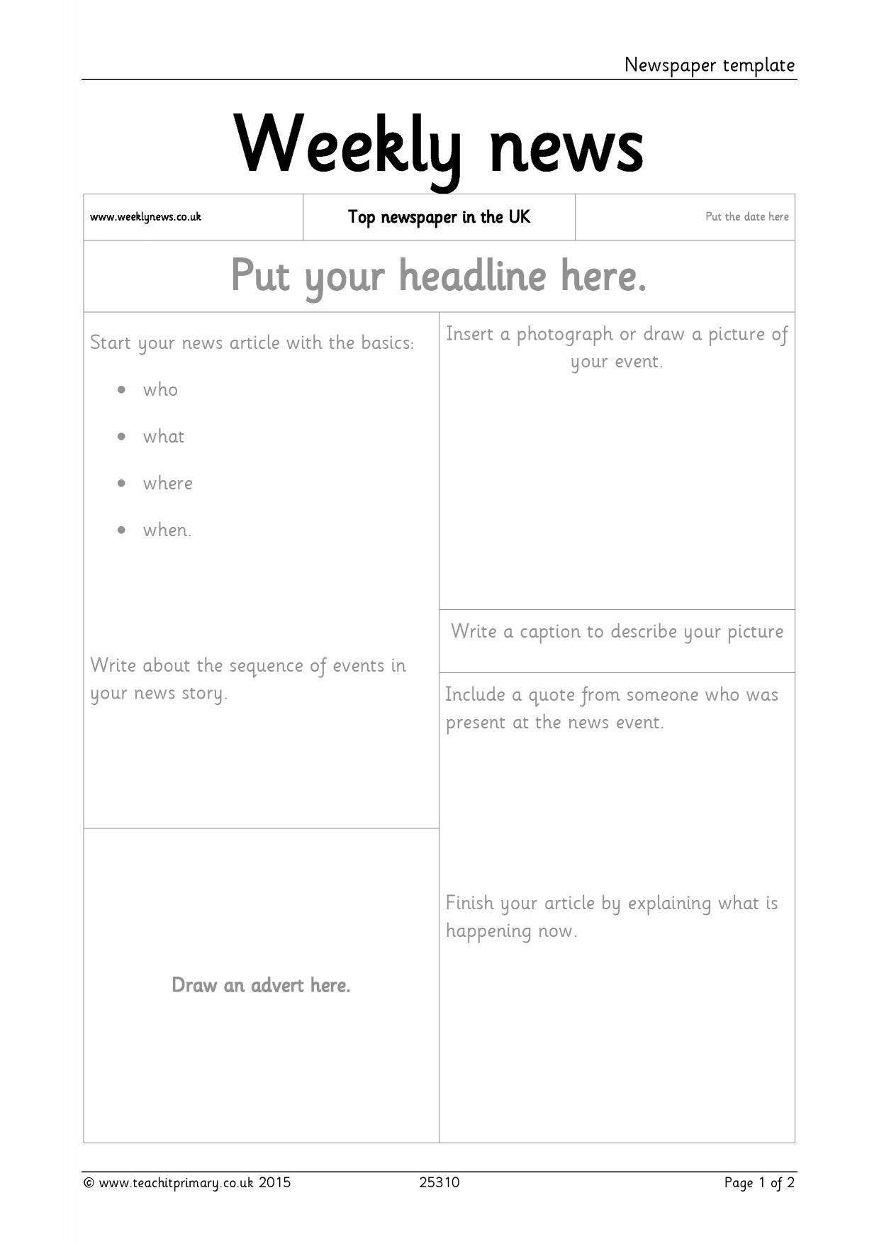 write a newspaper report template
