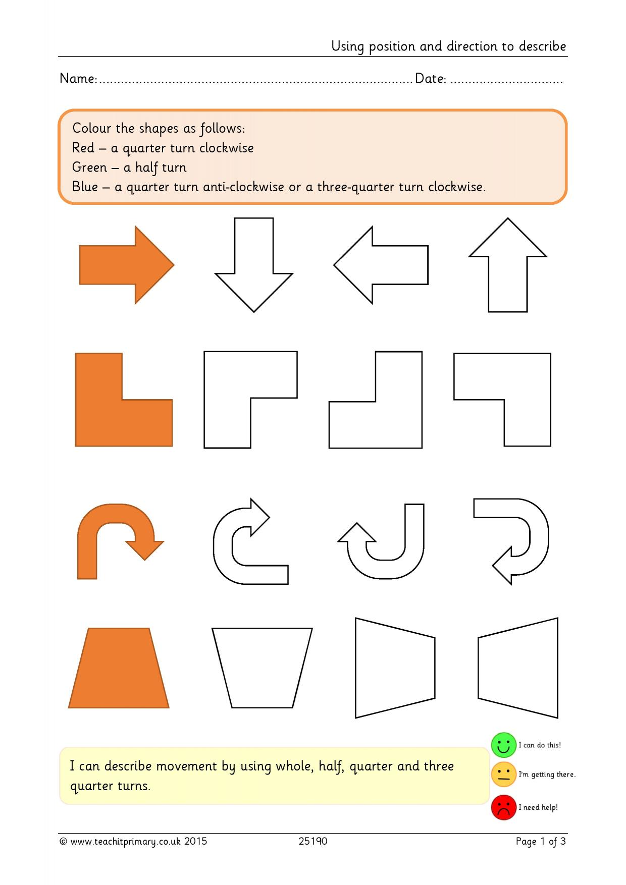Worksheets Direction Worksheets ks2 position and direction teachit primary 1 preview