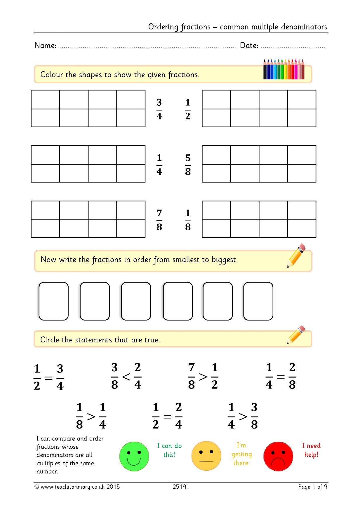 Worksheets Comparing And Ordering Fractions Worksheets 100 comparing and ordering fractions worksheets math free downloadable worksheets