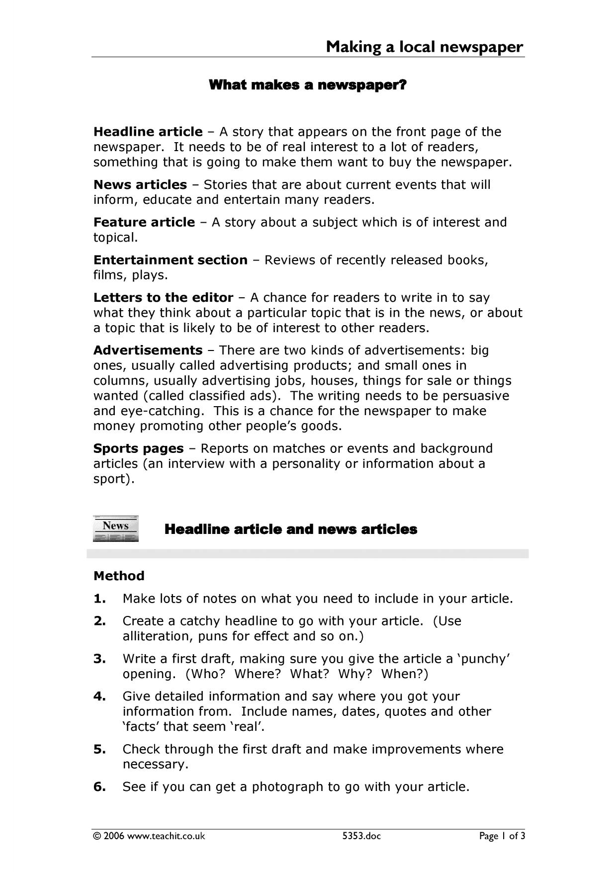 how to write a newspaper article lesson plan