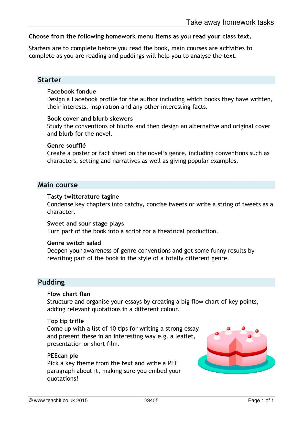 english takeaway homework
