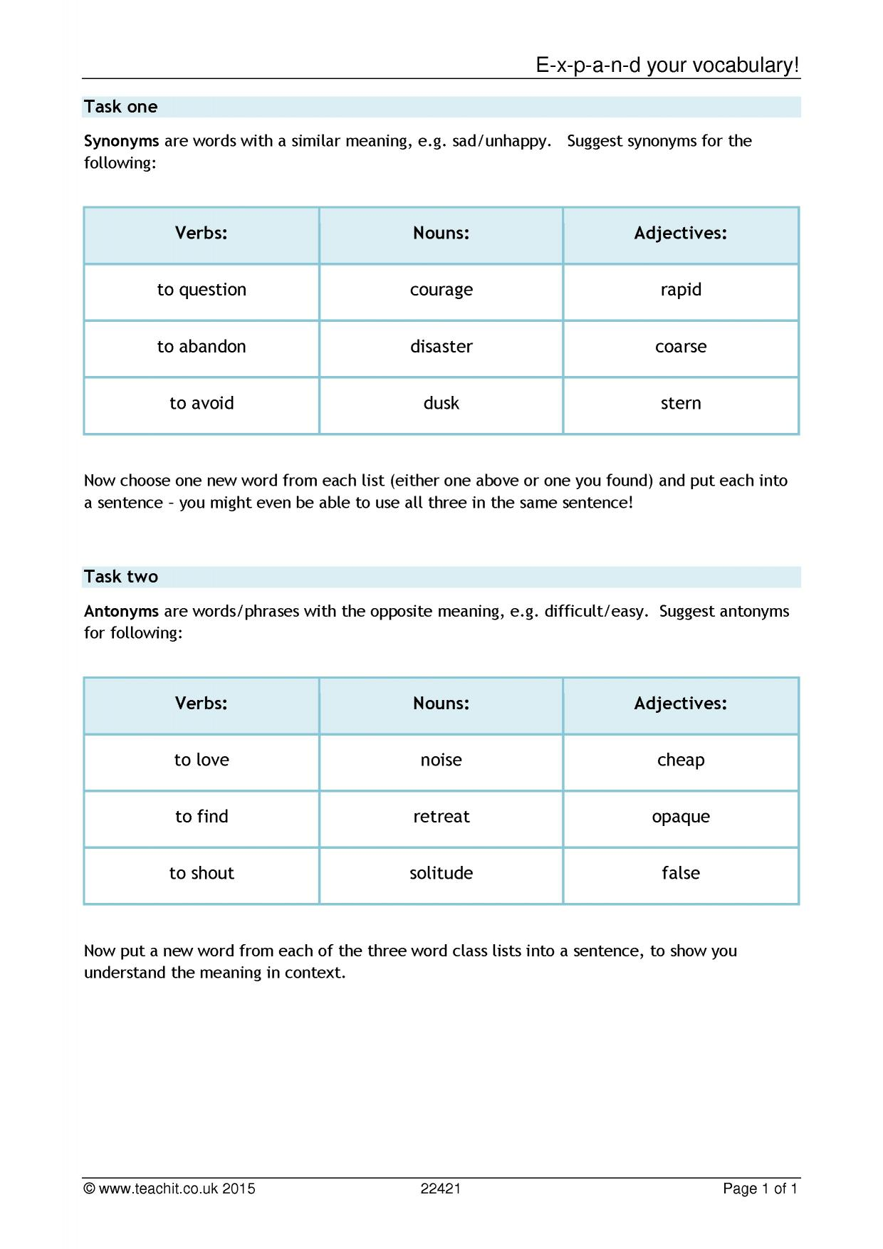 ks3 developing vocabulary teachit