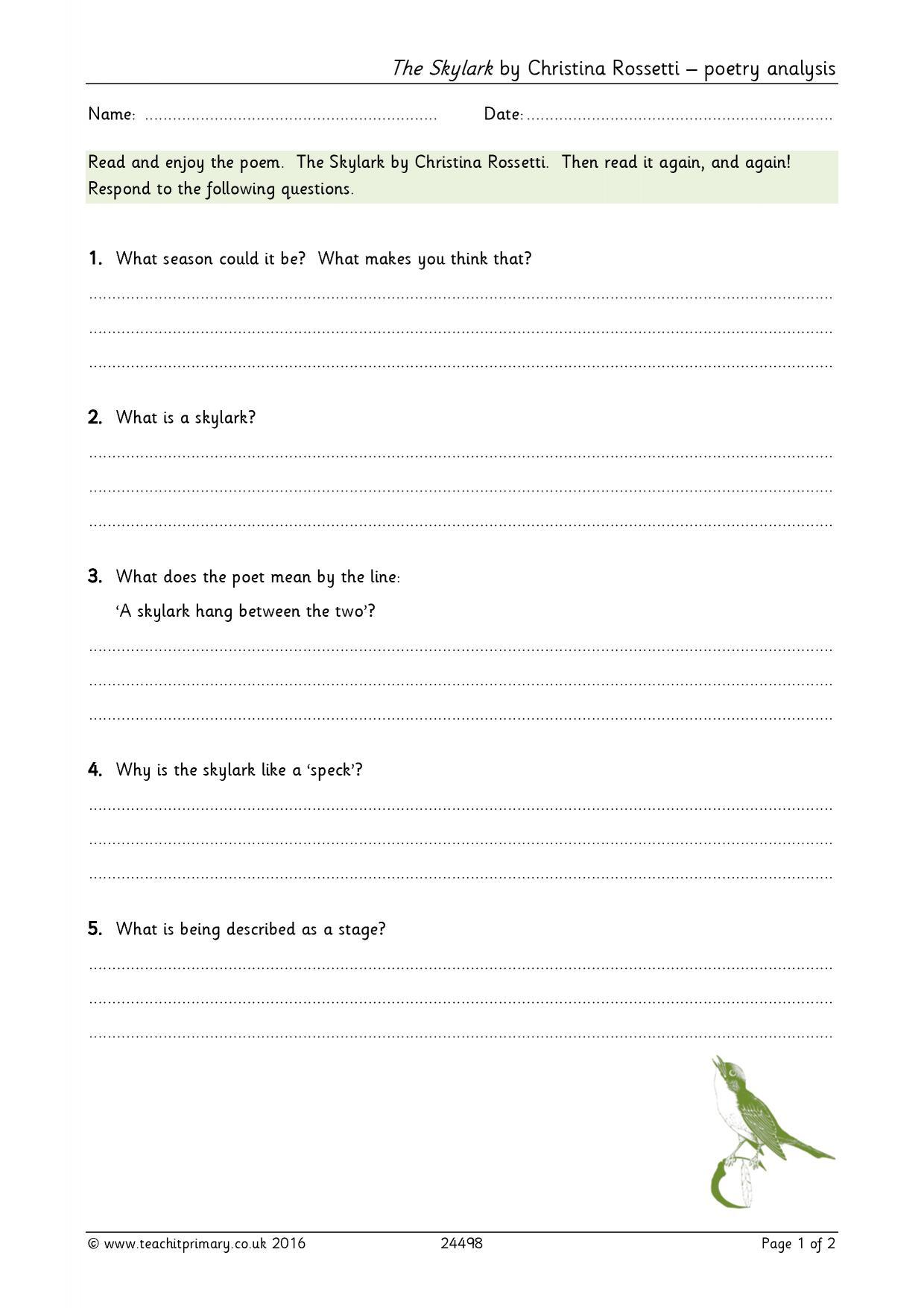 the skylark by christina rossetti poetry analysis poem based the skylark by christina rossetti poetry analysis poem based resources home page