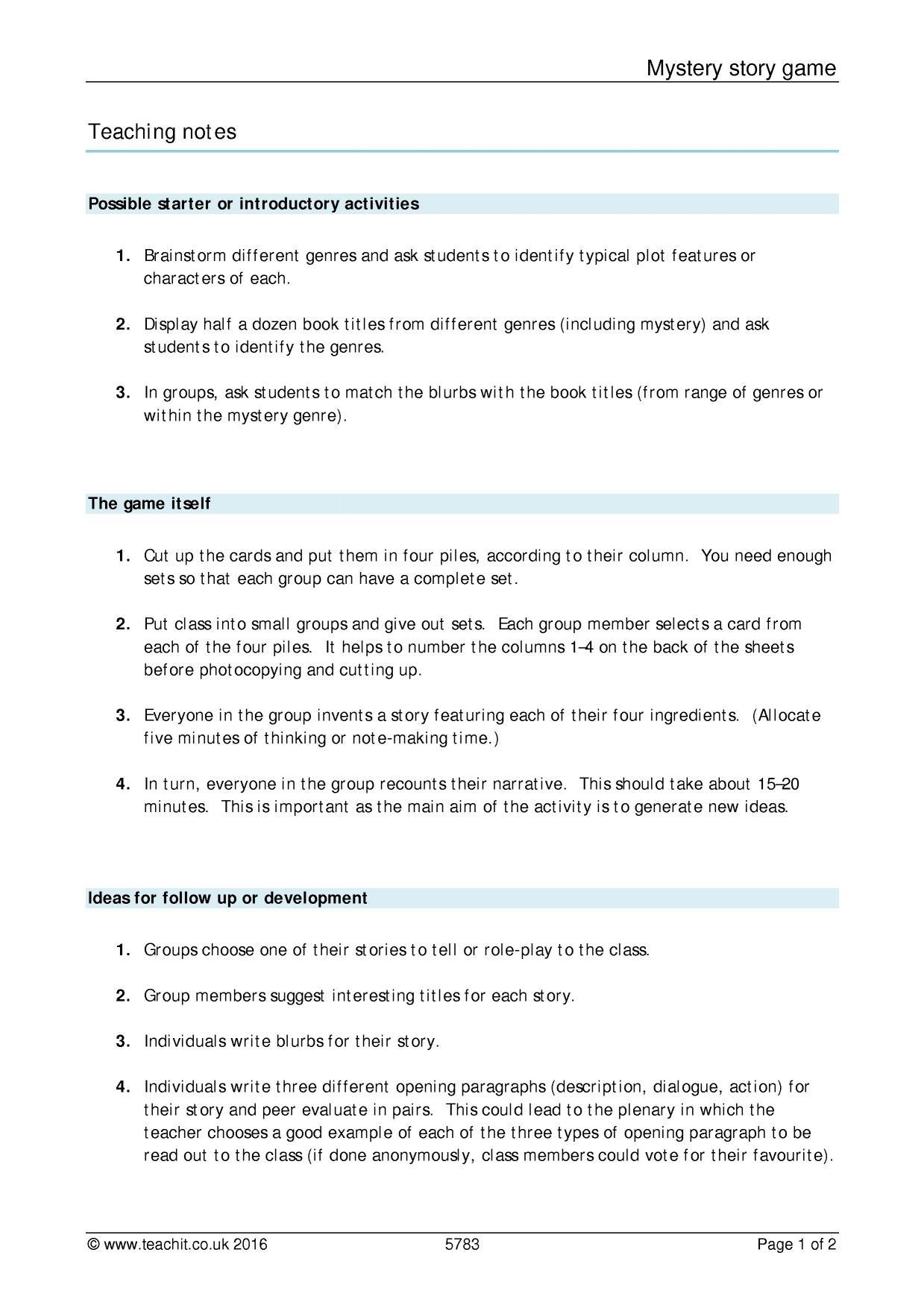 how to write a detective story ks3
