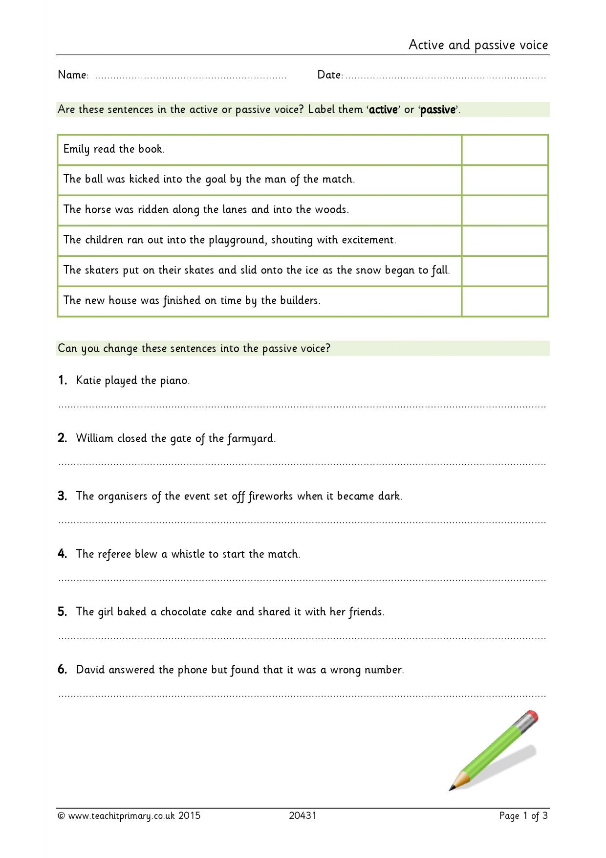 worksheet Active And Passive Voice Worksheets active or passive voice complex sentences home page
