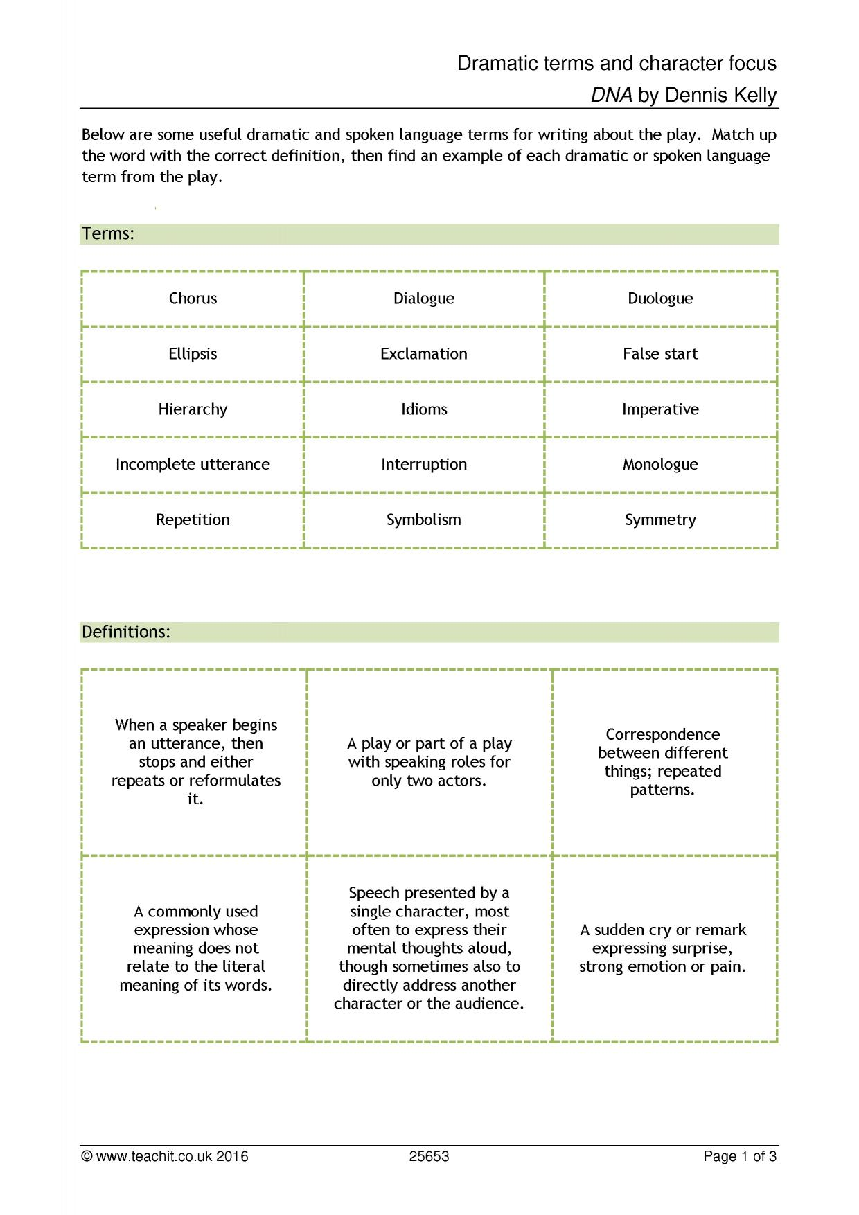 Worksheets Drama Terms Worksheet ks4 dna by dennis kelly teachit english 1 preview
