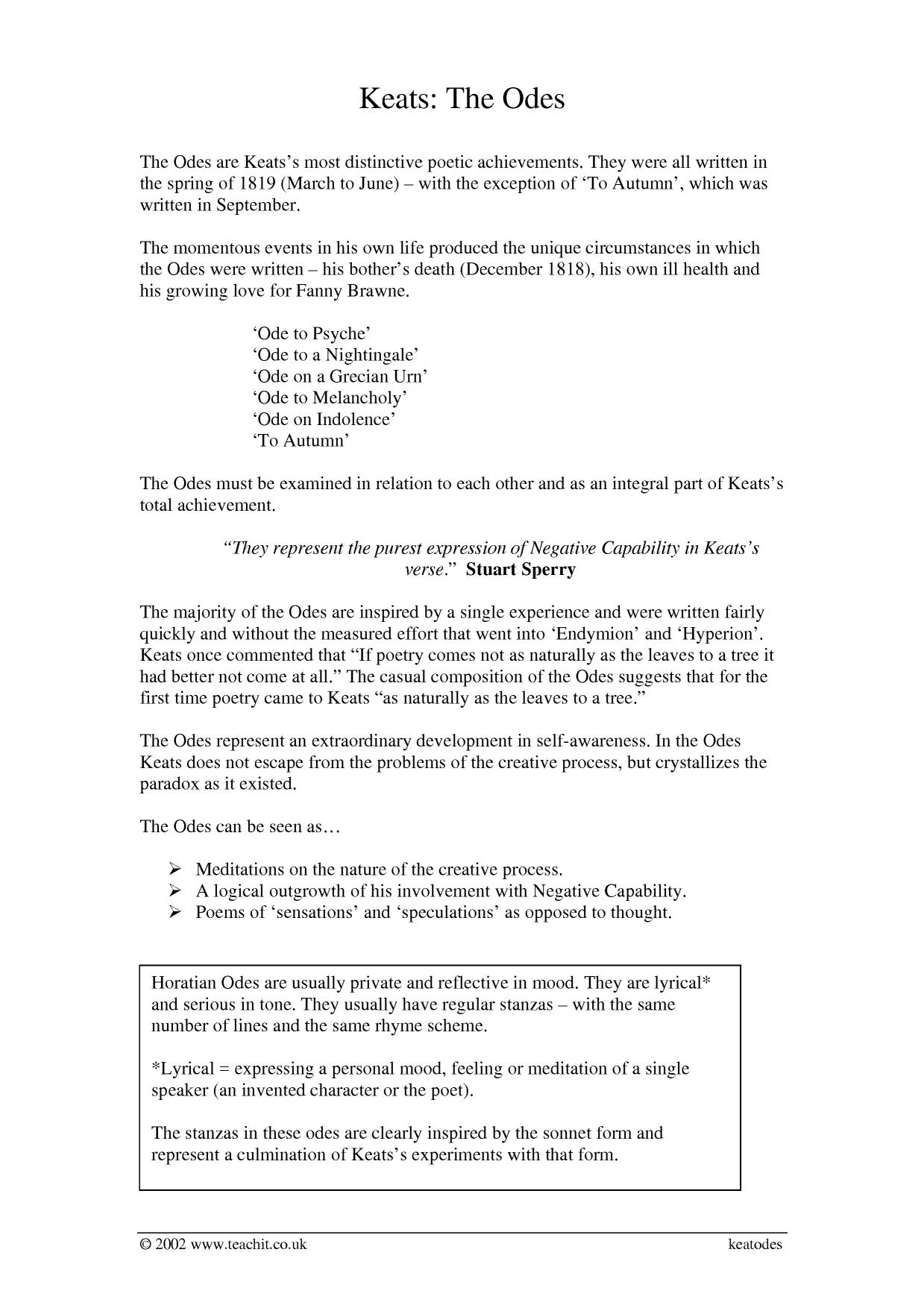keats essay questions Free essay: a critical analysis of ode on a grecian urn the romantic period   in doing this keats felt the only way to achieve his goal of moving his  the  poem begins by probing the reader with a series of questions presented by the.