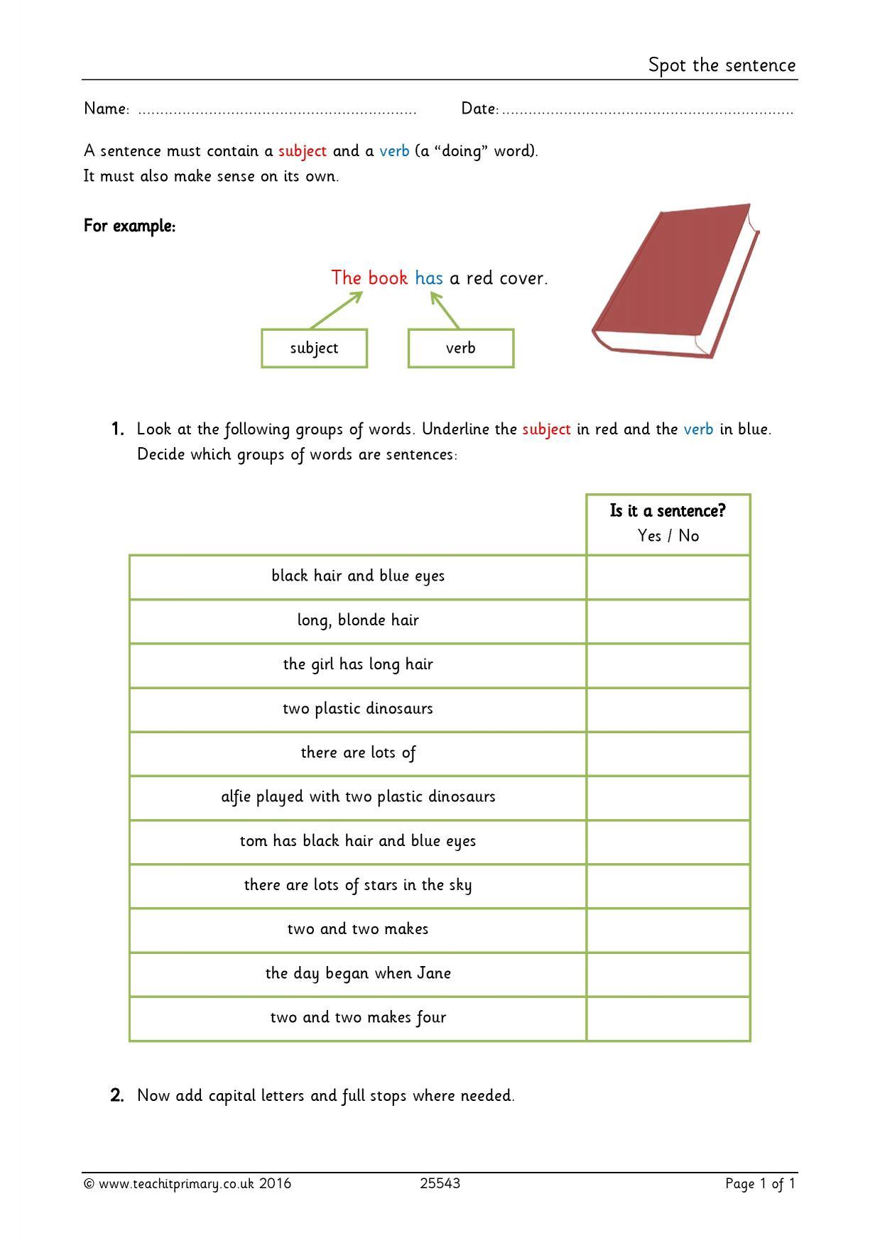 EYFS | KS1 | KS2 | Simple sentences | Teachit Primary