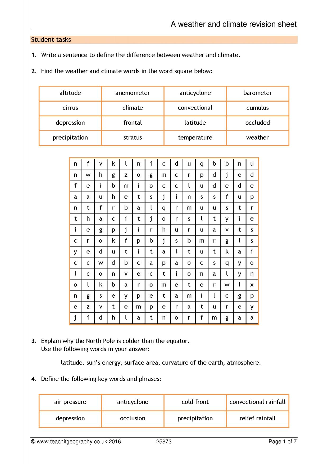 A weather and climate revision sheet