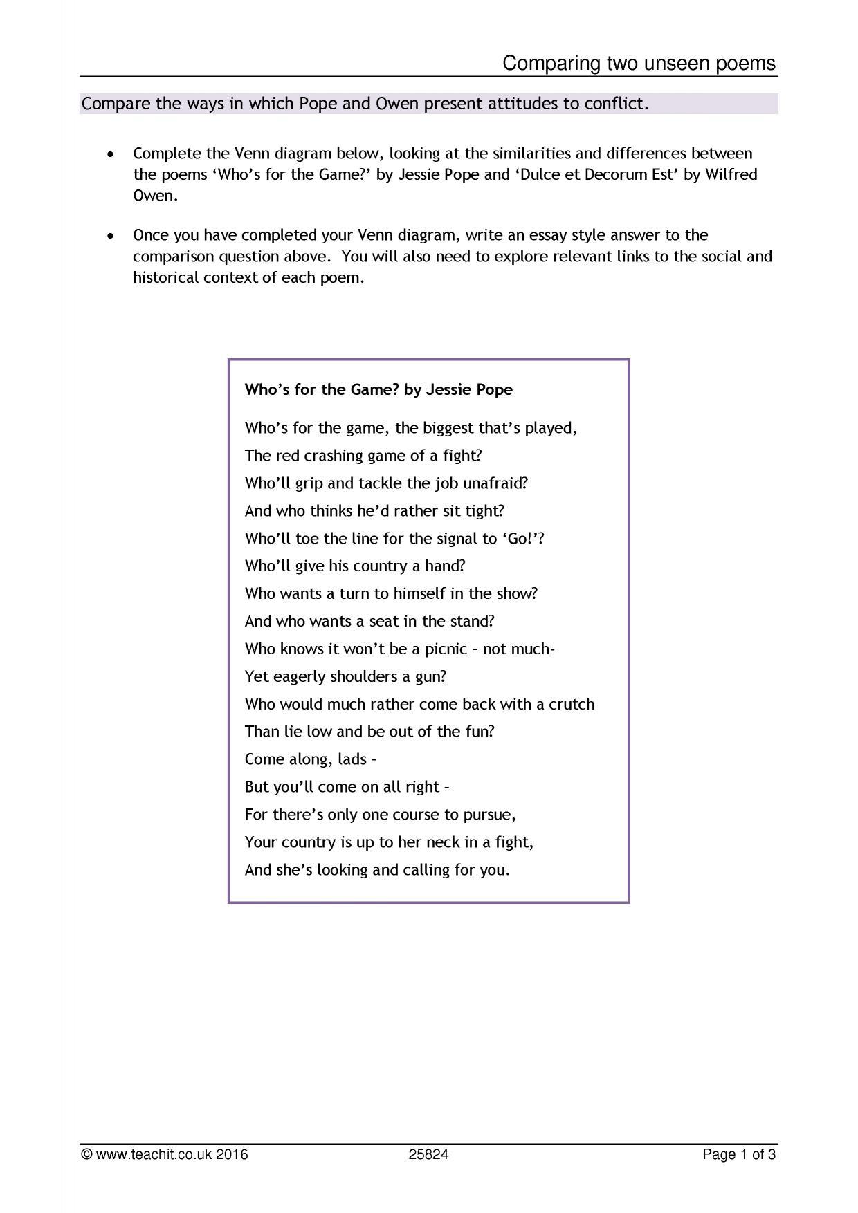 a comparison of john clare poems essay