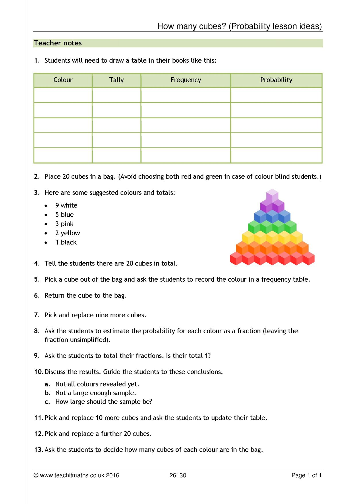 KS3 Probability resources Teachit Maths – Compound Probability Worksheet