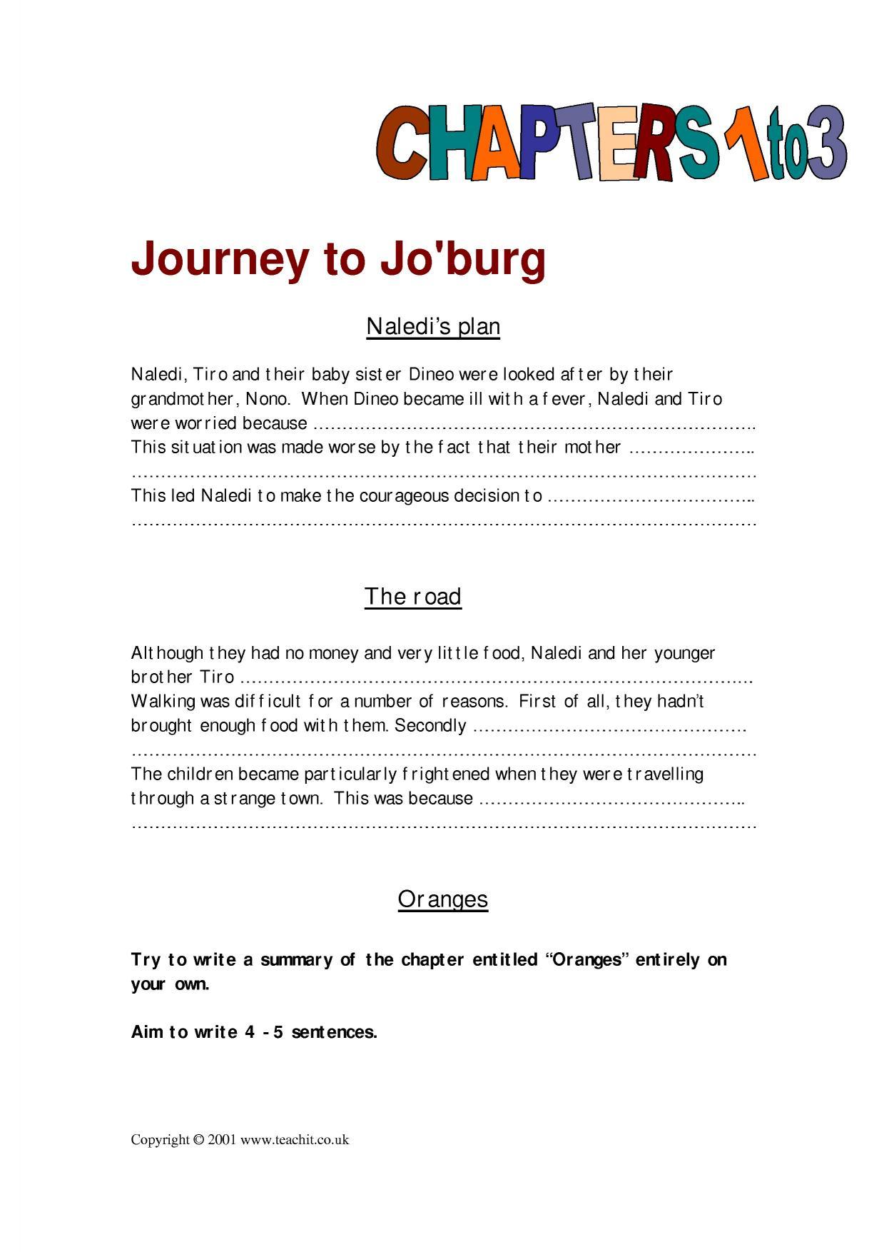 Ks3 Journey To Jo Burg By Beverley Naidoo Teachit English