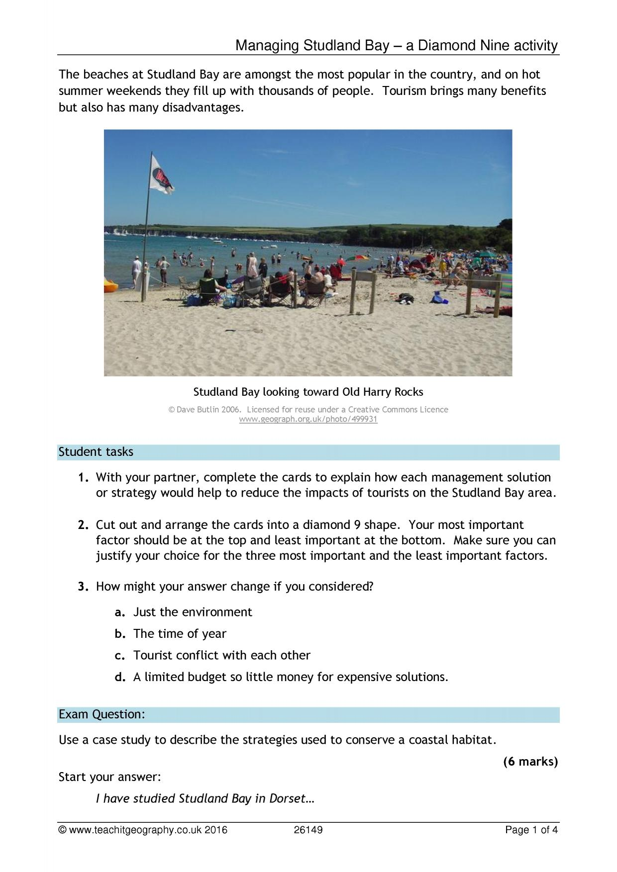 Studland Bay - A Diamond 9 management of a coastal habitat