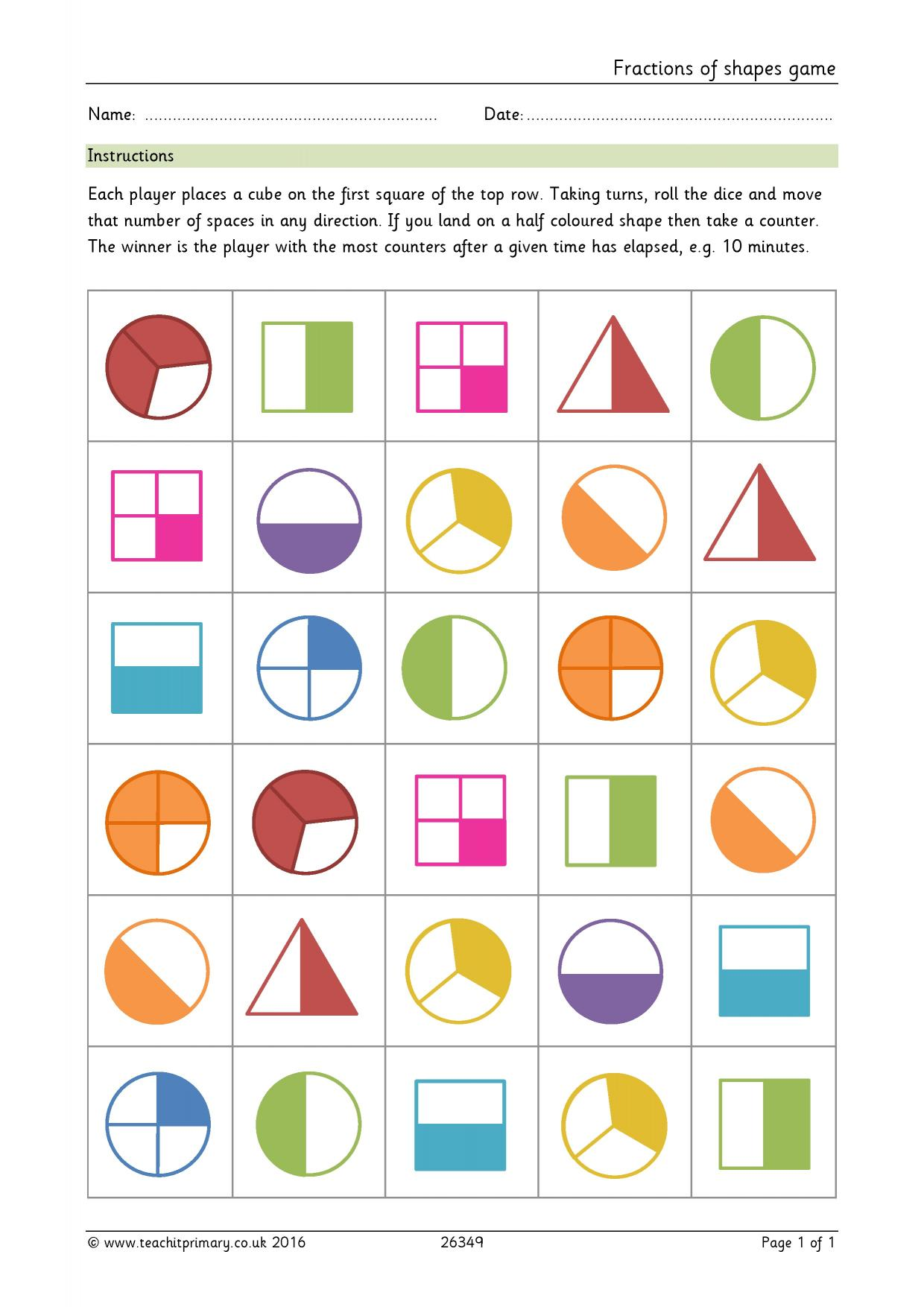 worksheet Fractions Of Shapes eyfs ks1 ks2 basic fractions teachit primary 0 preview