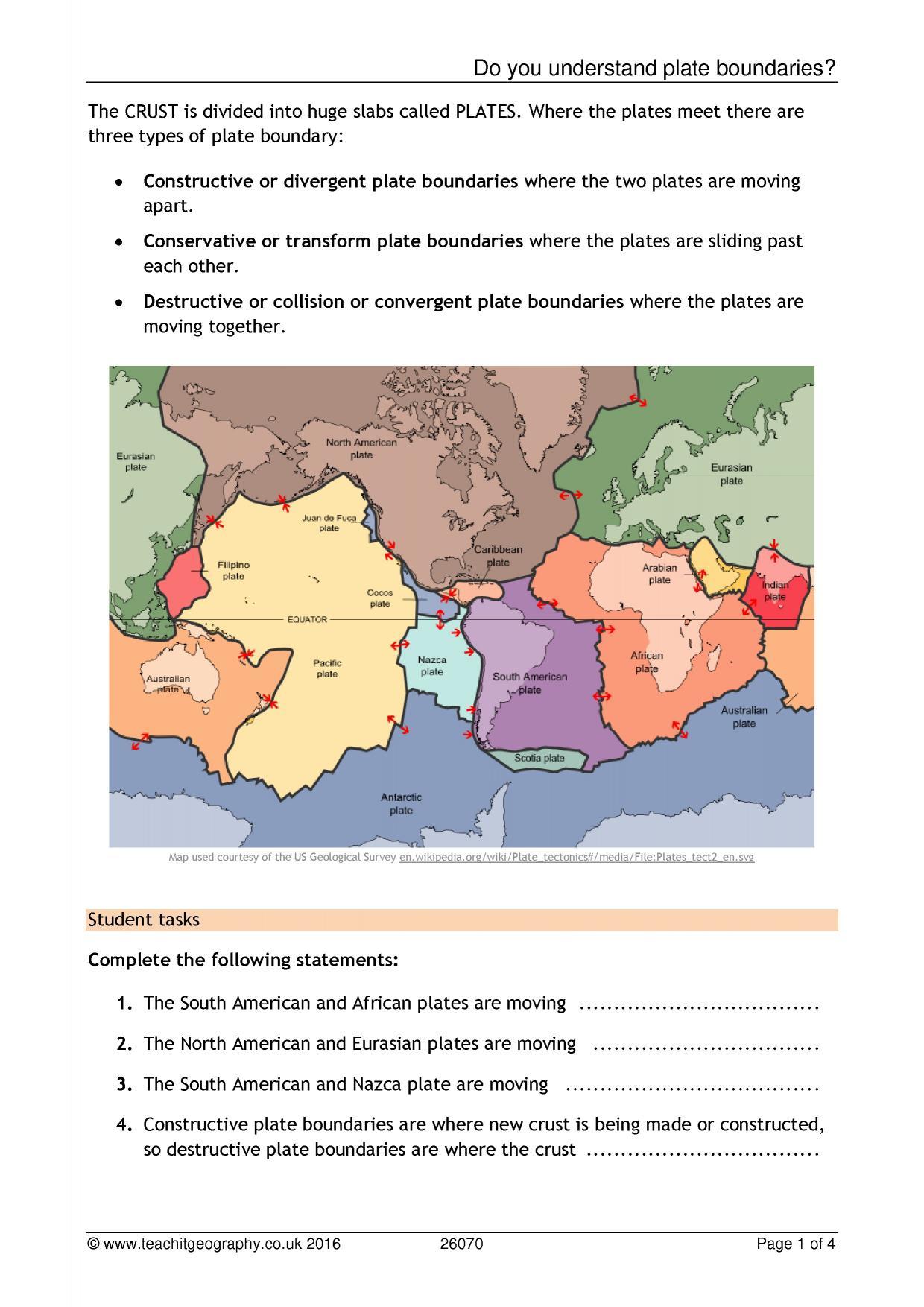 worksheet Types Of Plate Boundaries Worksheet ks3 plate boundaries teachit geography 4 preview