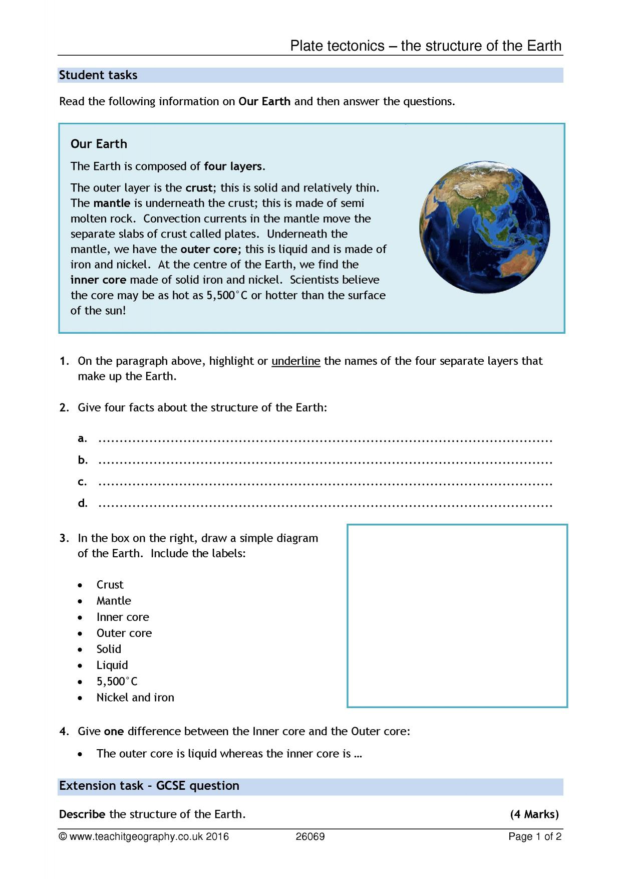Ks3 Structure Of The Earth Teachit Geography