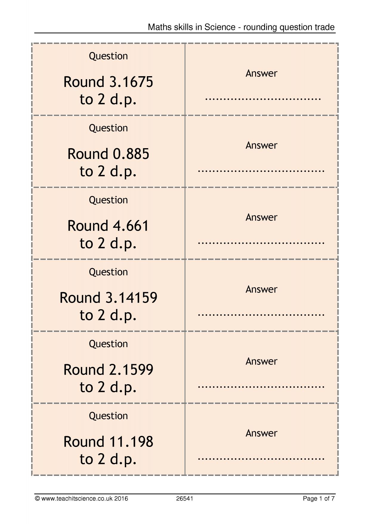 Maths skills in Science - rounding question trade