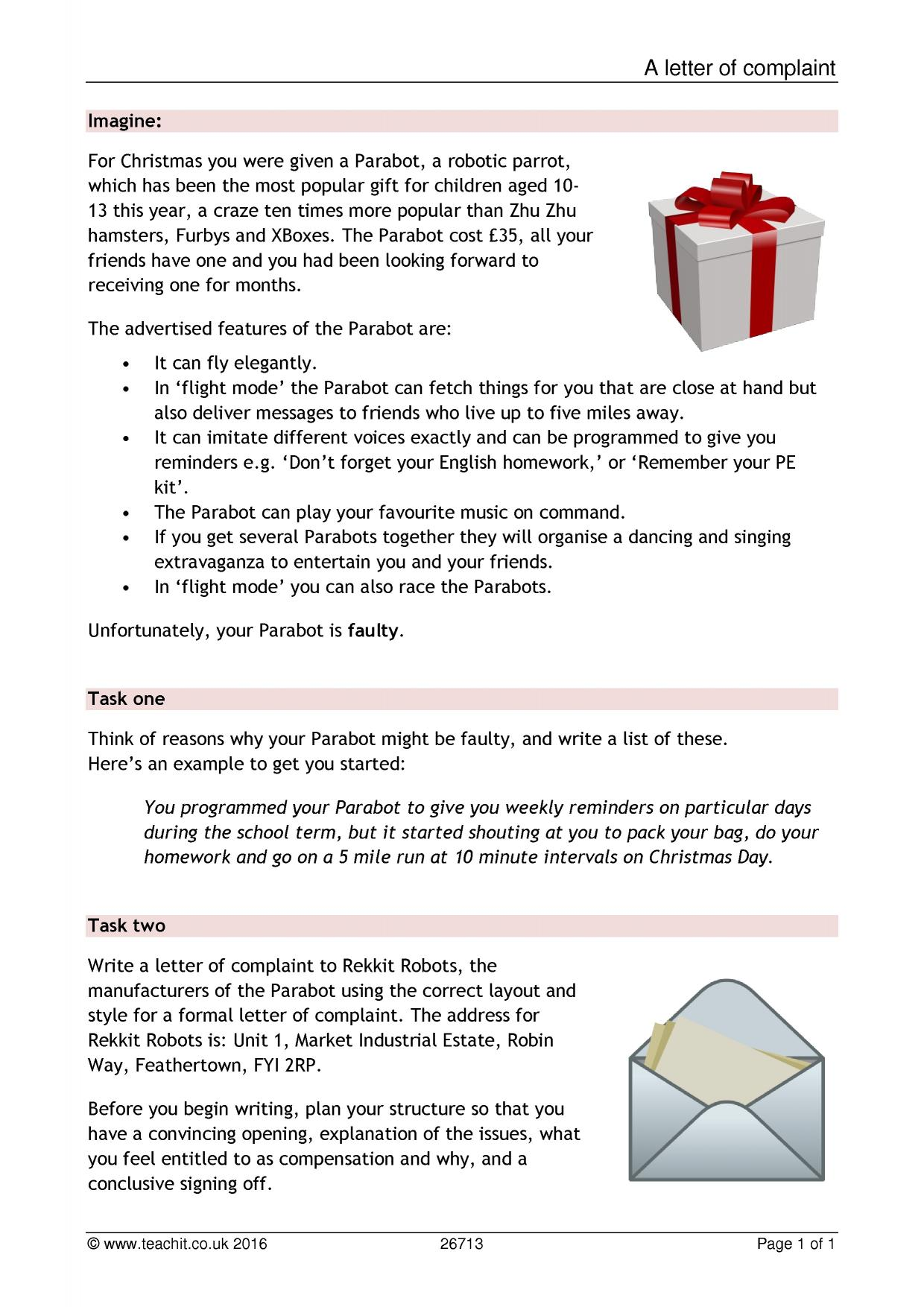 letter writing ks writing key stage resources 3 preview ks3 writing document letter of complaint