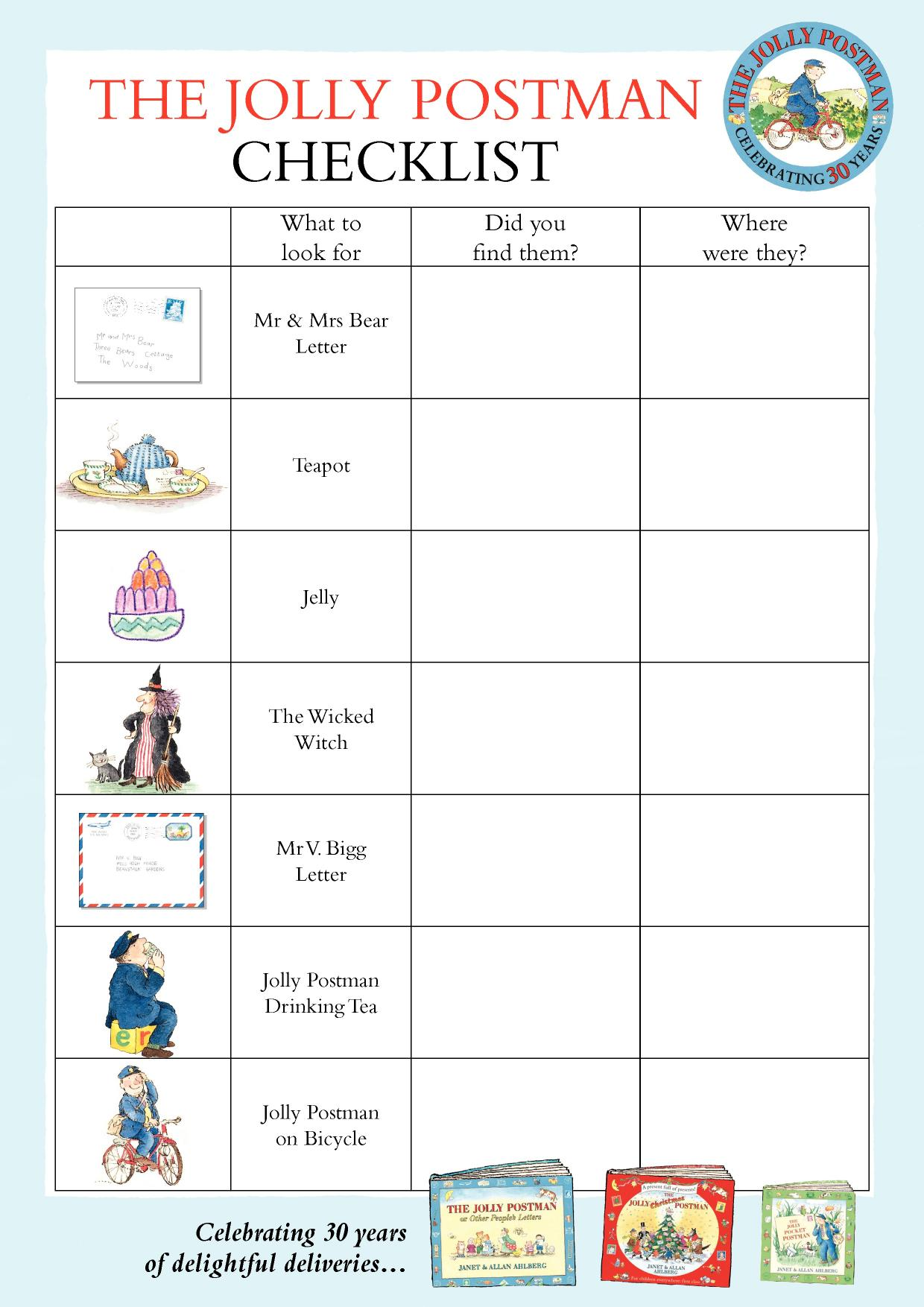 The jolly postman checklist bookshelf allan and for Read write think postcard template