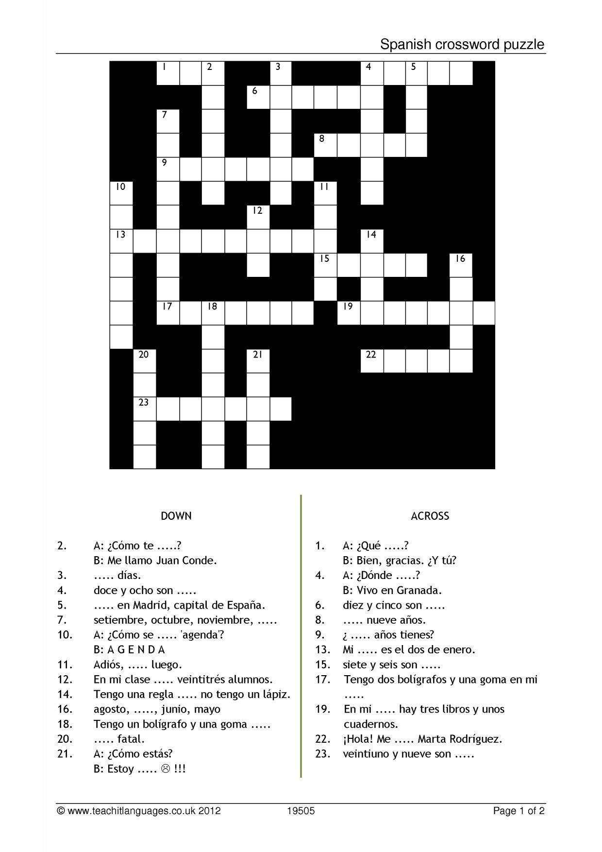 This is a graphic of Dramatic Printable Spanish Crossword Puzzle