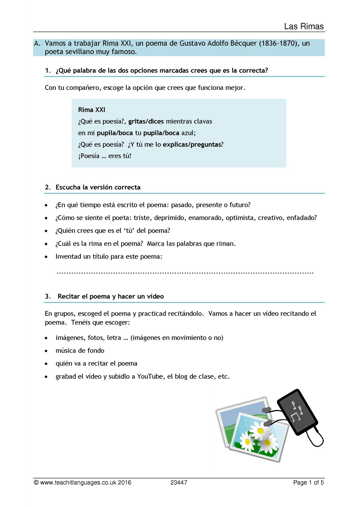 Latest Spanish teaching resources printable worksheets and – Tener Que Worksheet