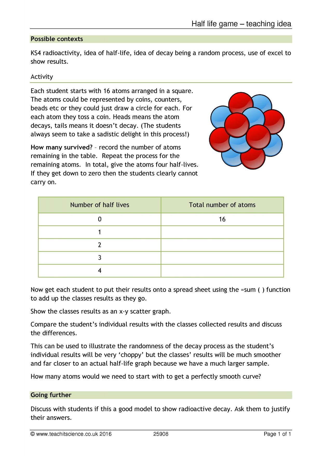 Half life game - teaching idea