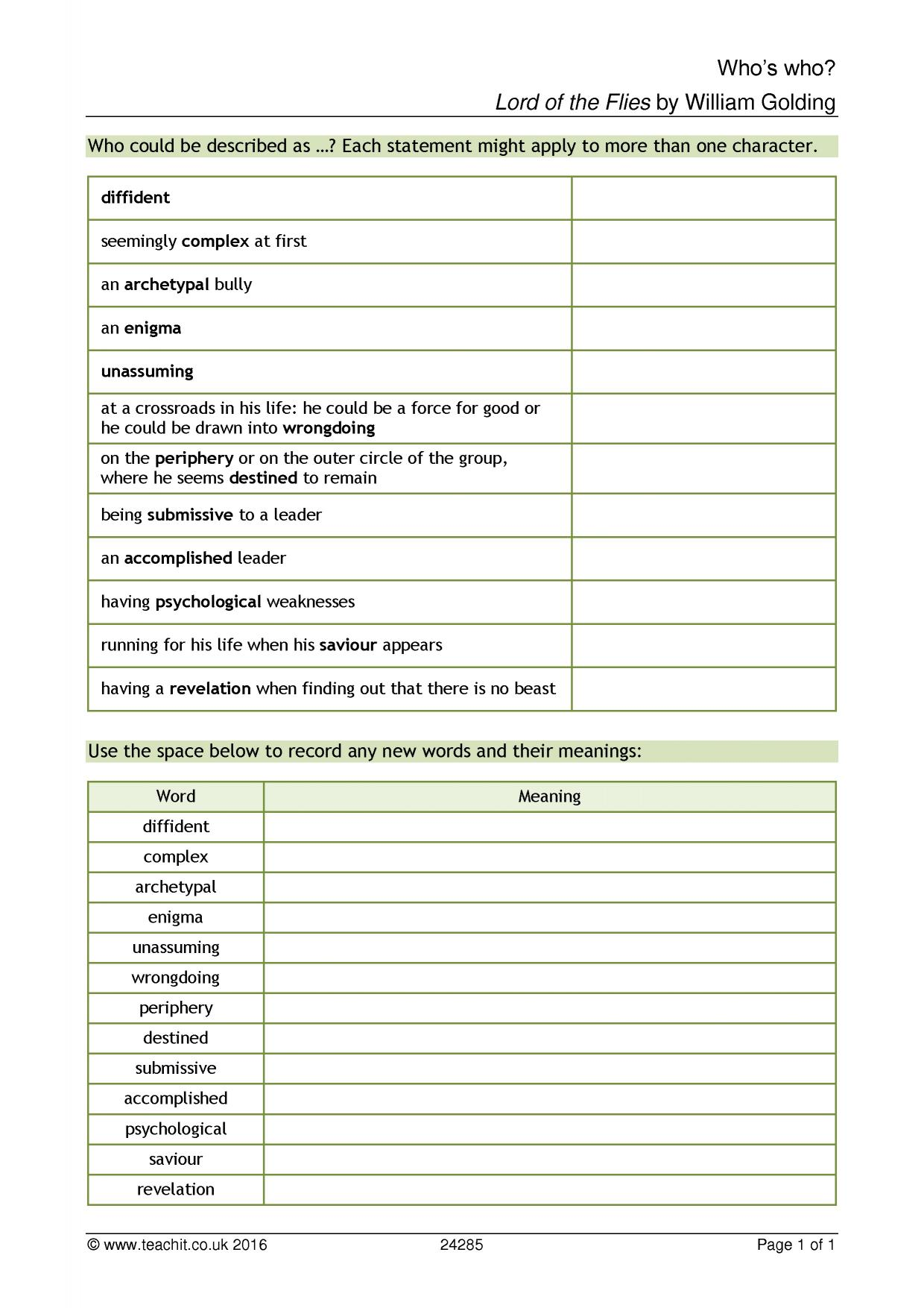 worksheet The Catcher In The Rye Worksheets ks4 lord of the flies by william golding teachit english 1 preview