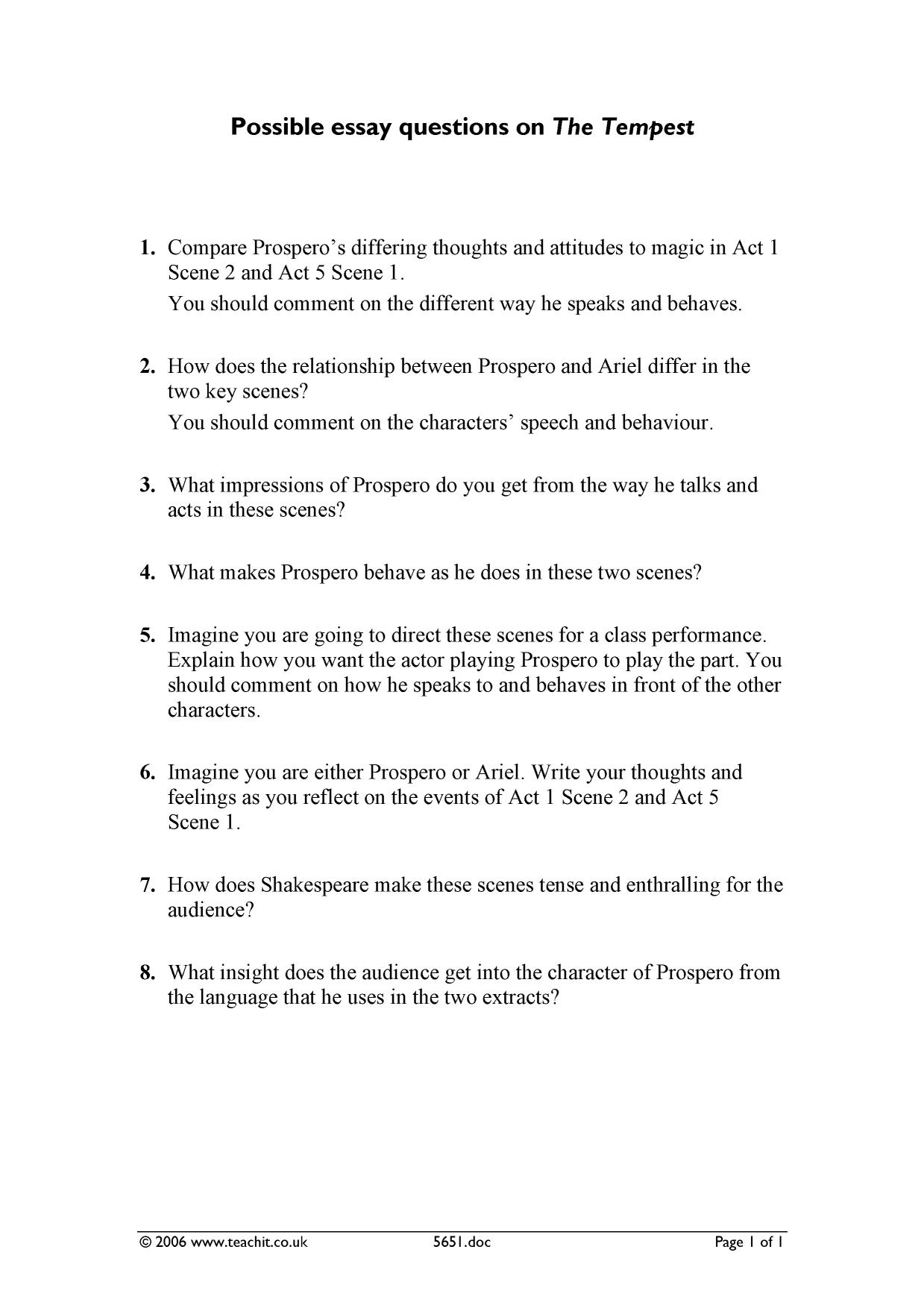 possible essay questions for the tempest essay writing service possible essay questions for the tempest