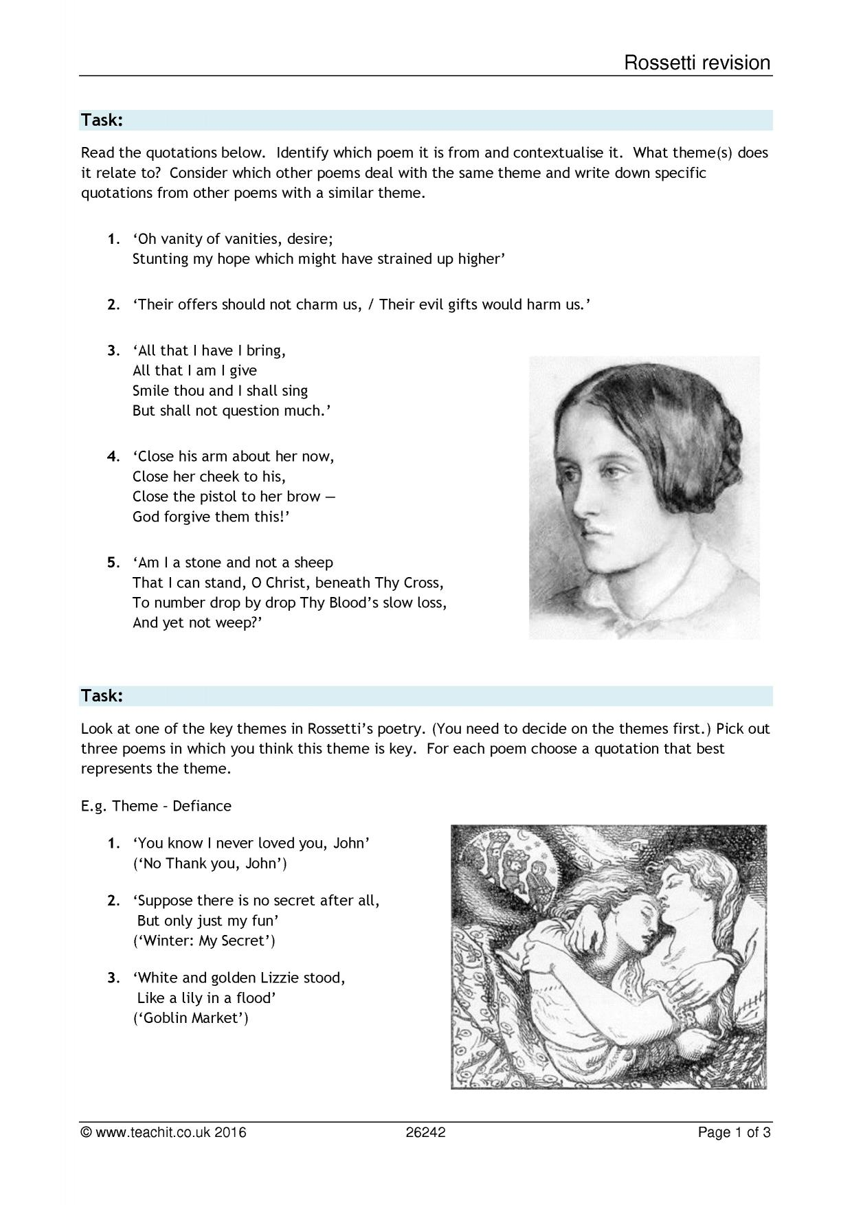 analysis of the poem remember by christina rossetti Christina rossetti's remember is a petrarchan sonnet with the rime scheme abbaabba in the octave and cddece in the sestet the petrarchan, or italian analysis of poem nothing gold can stay by robert frost by andrew spacey 0 literature.