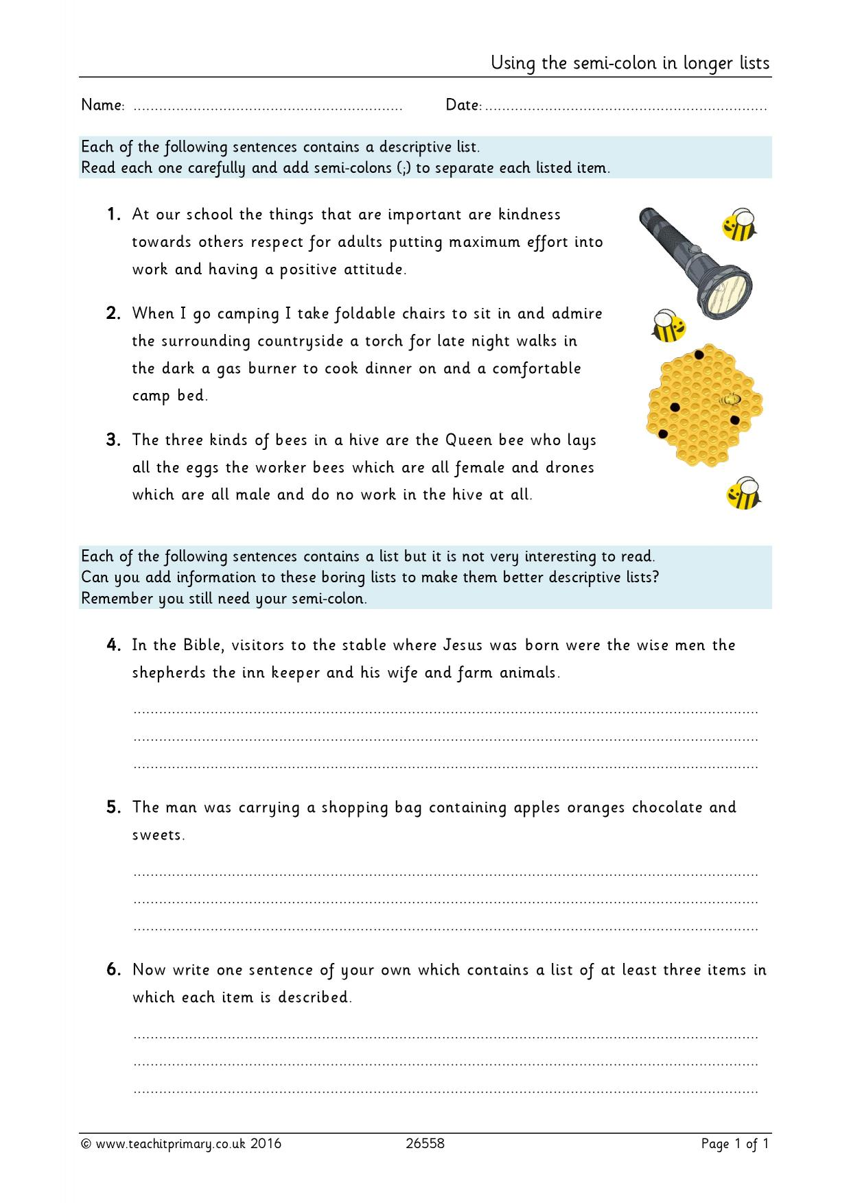 Worksheets Semicolon Worksheet semicolon worksheets using the semi colon in longer lists lists
