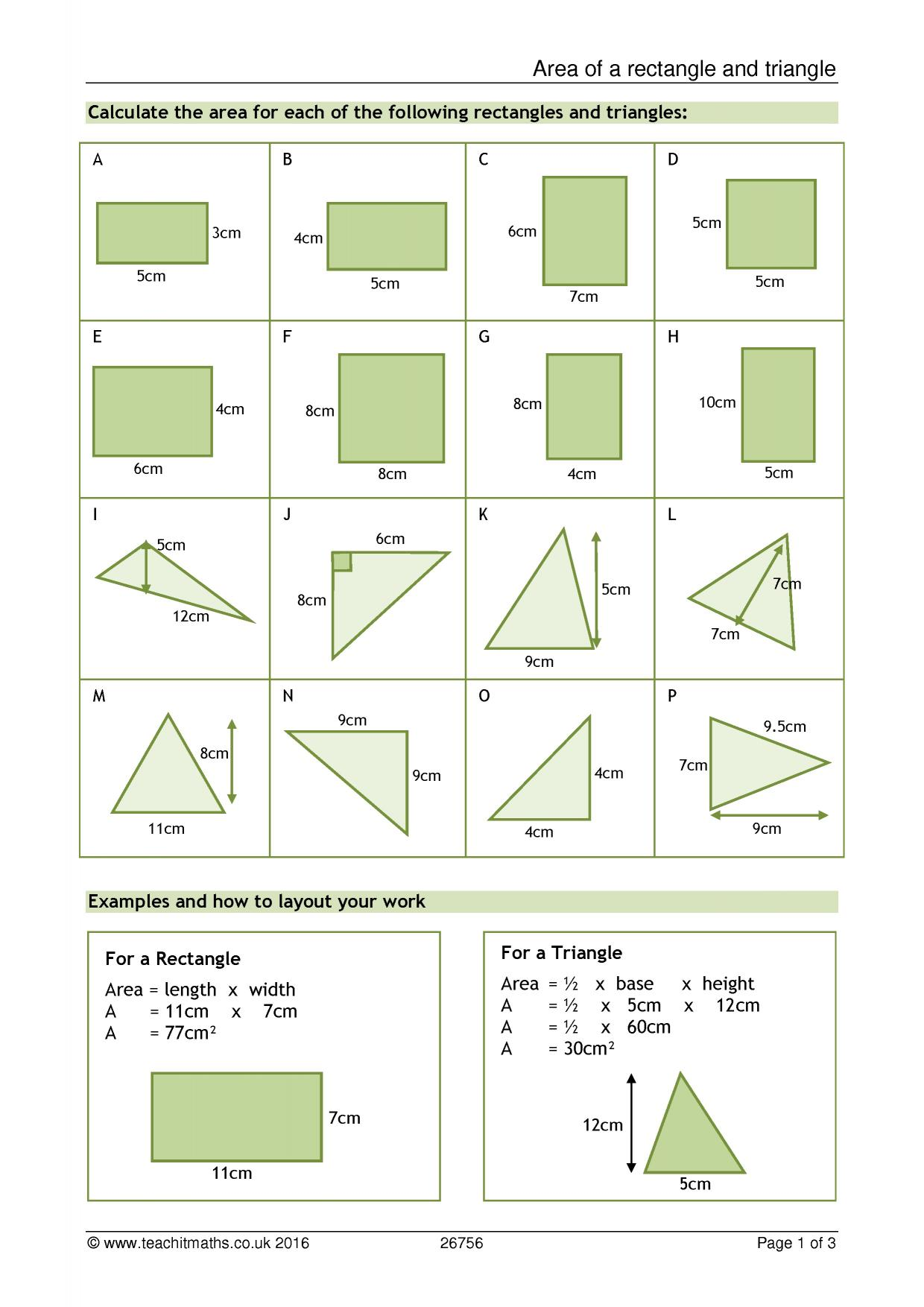 Area of triangles and rectangles worksheet pdf