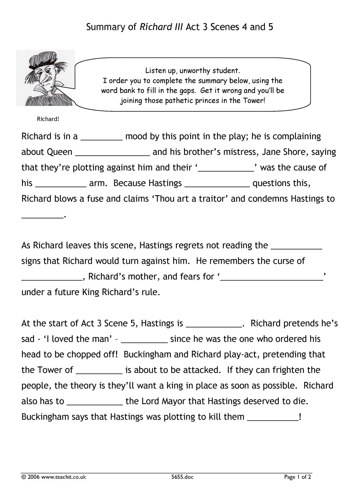 richard iii act ks plays key stage resources 0 preview ks3 plays a cloze summary of act 3 scenes 4 and 5