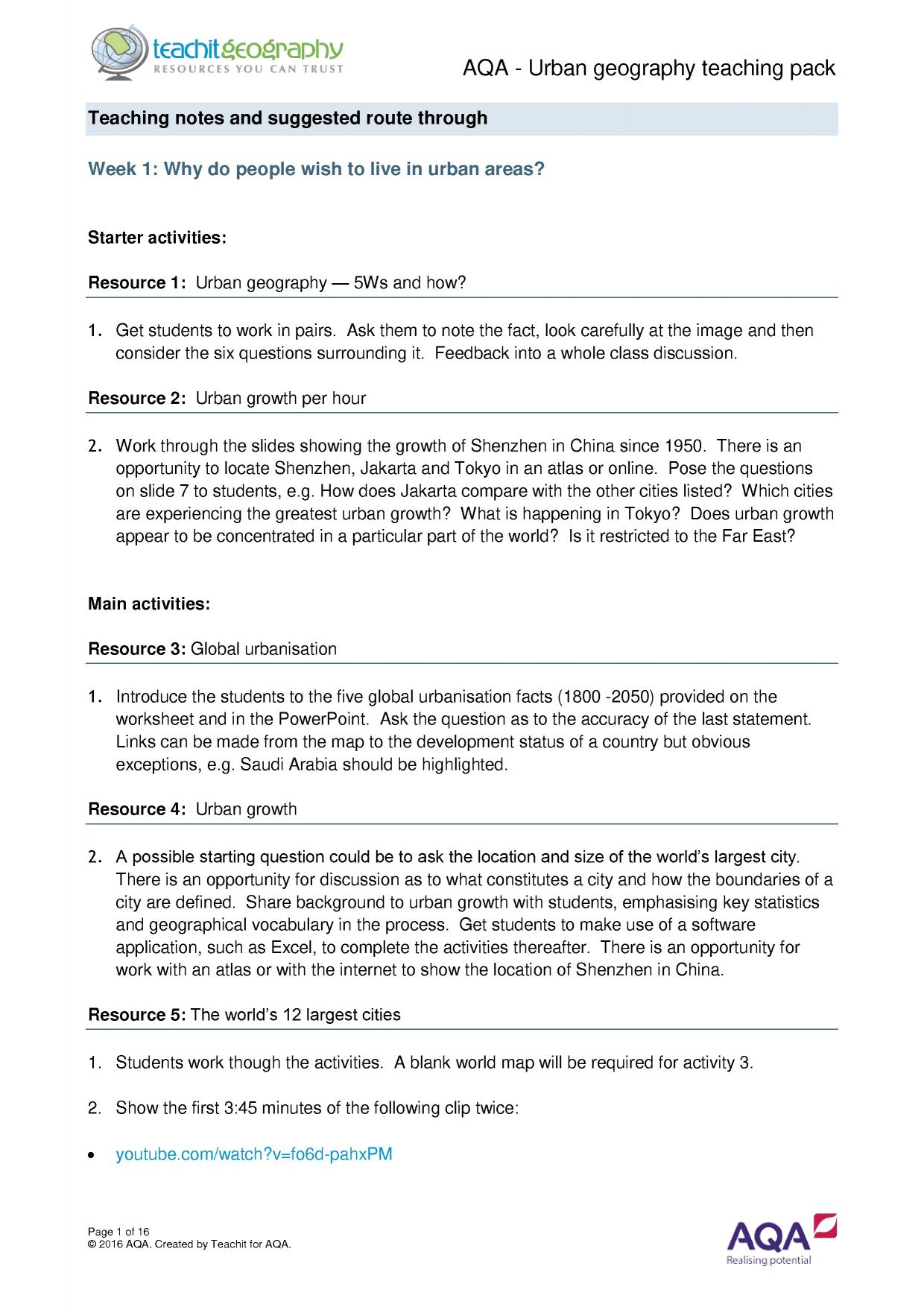 Aqa urban geography teaching pack notes for teachers urban aqa urban geography teaching pack notes for teachers urban geography gcse teaching pack gumiabroncs Gallery