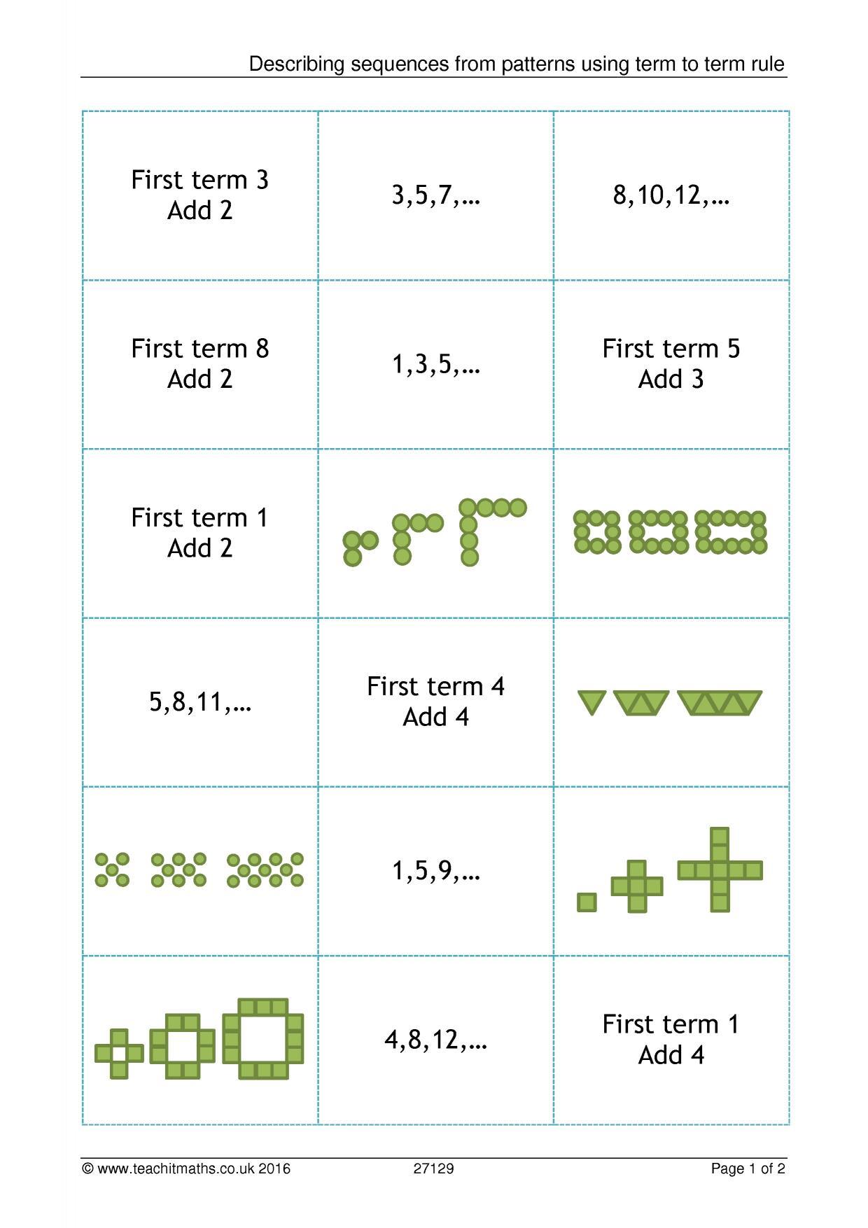 Sequences – term to term | Teachit Maths