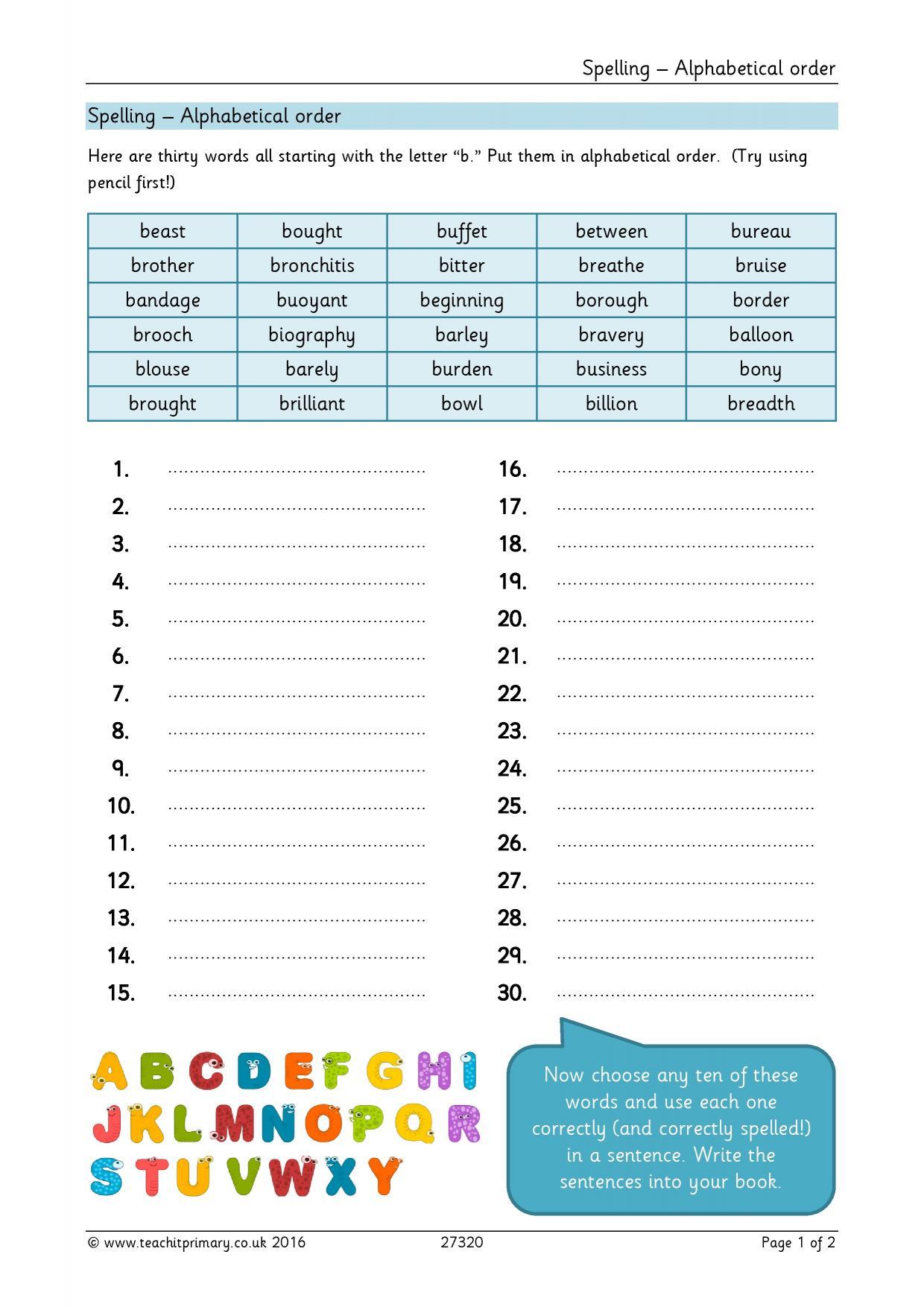 Spelling - alphabetical order