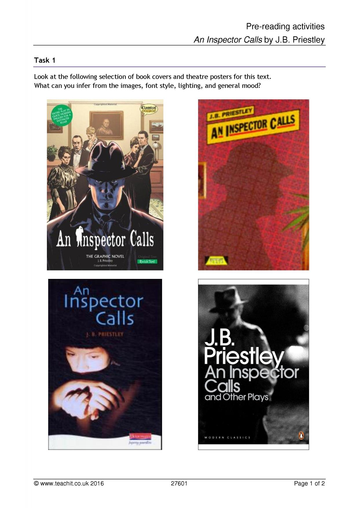 an inspector calls by j b Free essay: an inspector calls we don't live alone we are all members of one body we are responsible for each other what is priestley's main.