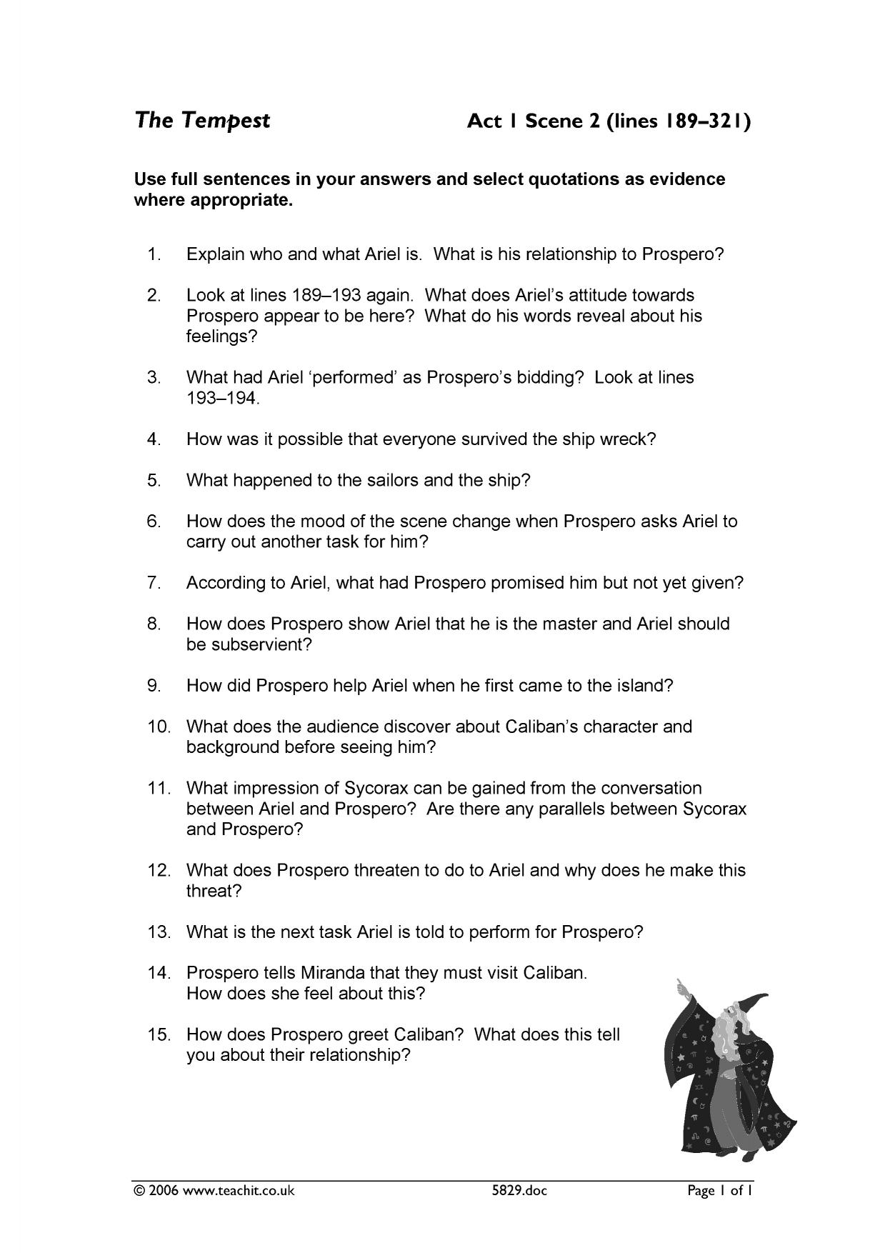 - Act 1 Scene 2 Comprehension Questions