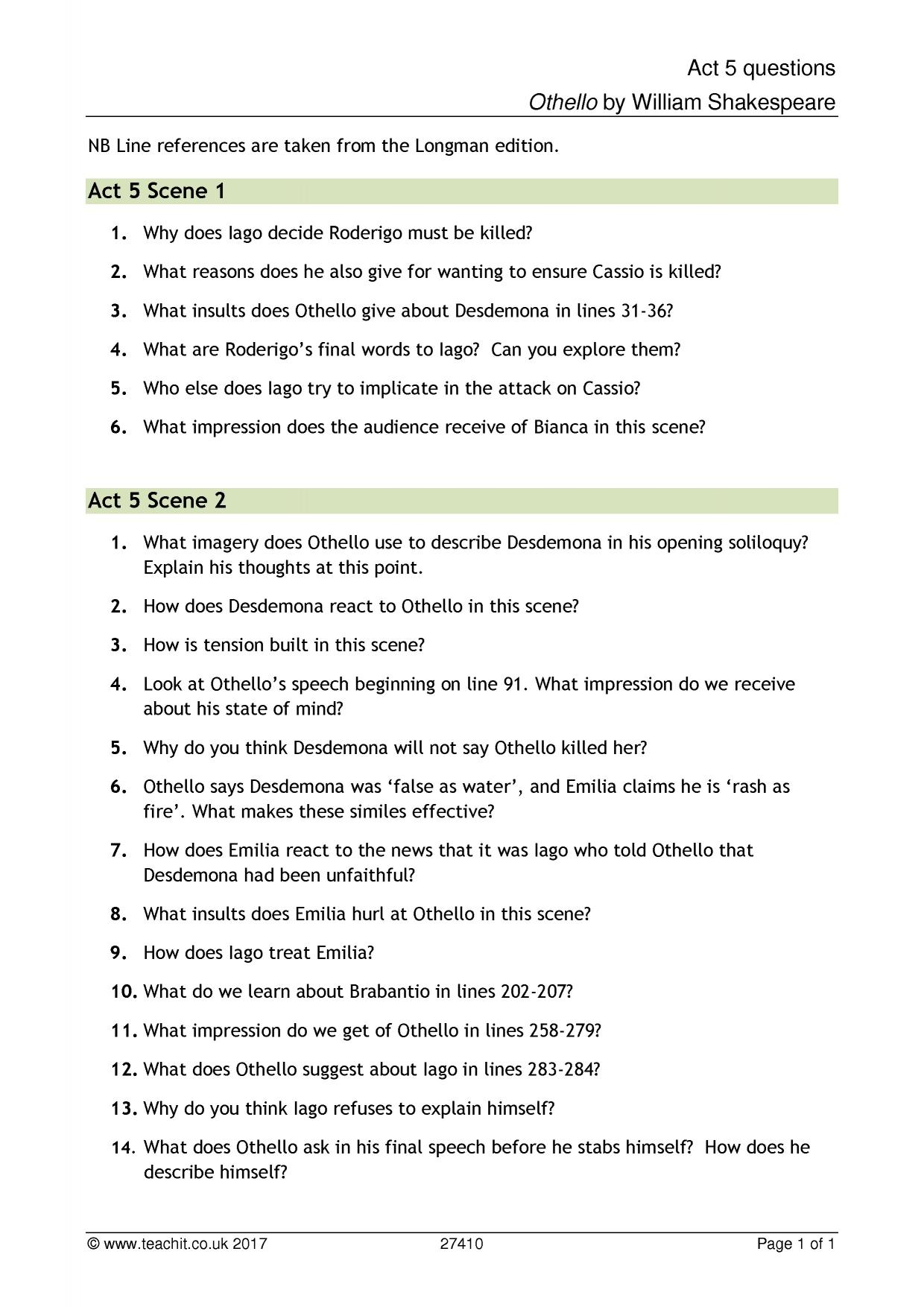 othello test review comprehension questions essay Essay question: select one of these to respond to a trace the history of the handkerchief quizletcom/71944022/othello-test-reviewestions-flash-cards/.