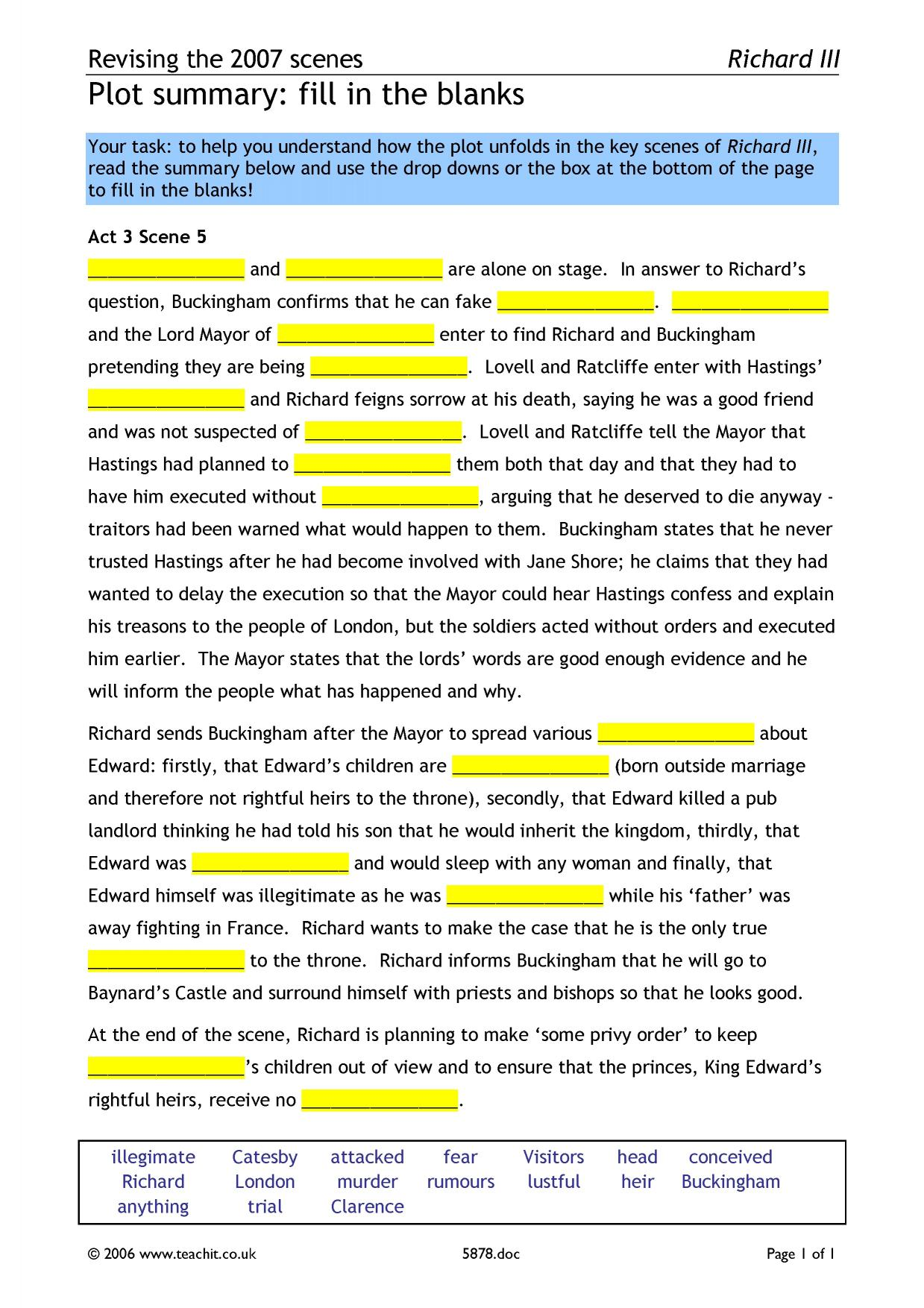 richard iii act ks plays key stage resources 0 preview ks3 plays revise the plot of act 3 scene 5