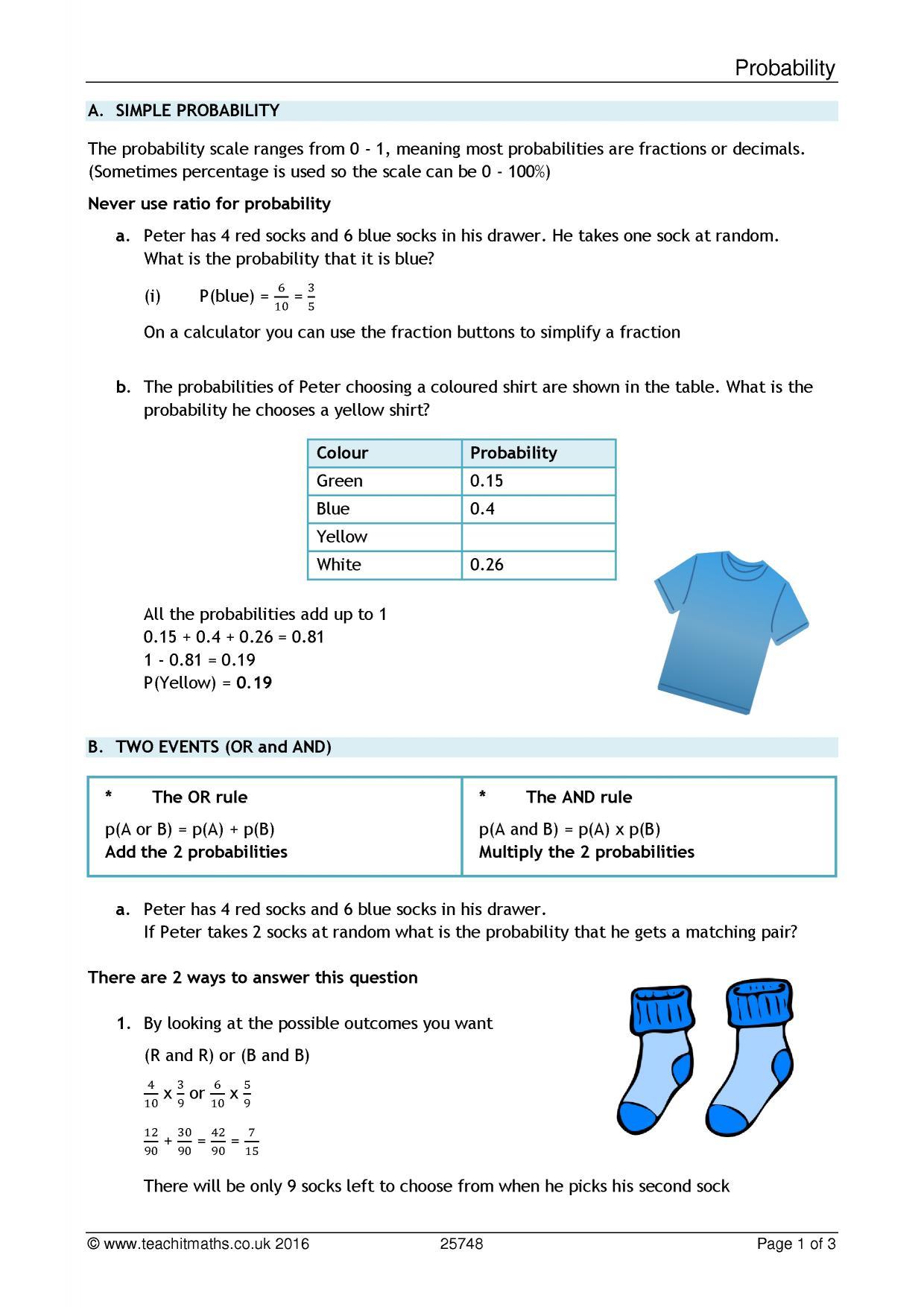 Probability resources   KS4 maths resources - Teachit Maths