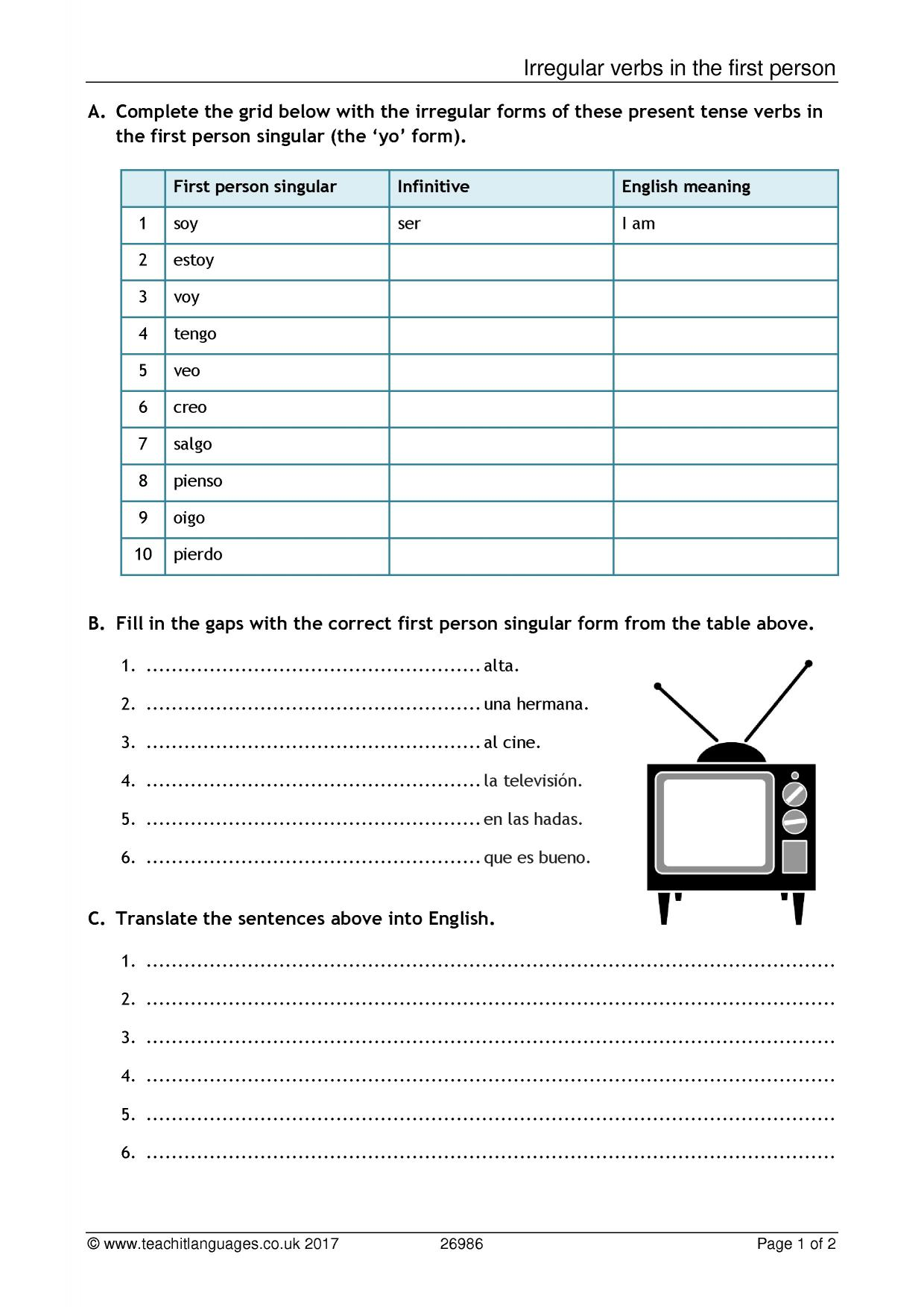 latest spanish teaching resources printable worksheets and whiteboard activities teachit. Black Bedroom Furniture Sets. Home Design Ideas