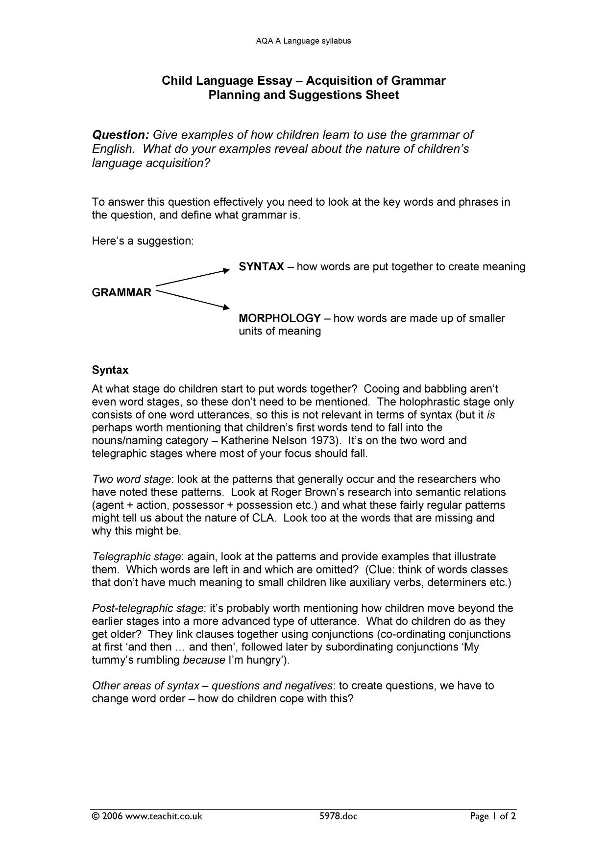 What Is A Thesis For An Essay Child Language Grammar  Essay Planning And Suggestions Sheet For Aqa A Accounting Assignment Help Australia also Thesis For Compare Contrast Essay Child Language Grammar  Essay Planning And Suggestions Sheet For  Essay About Health