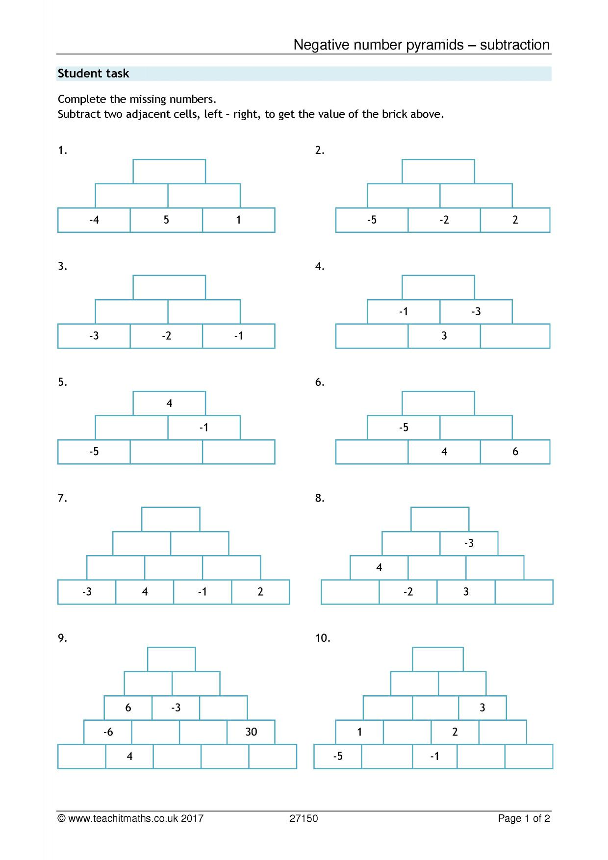 Negative Numbers Pyramids Subtraction