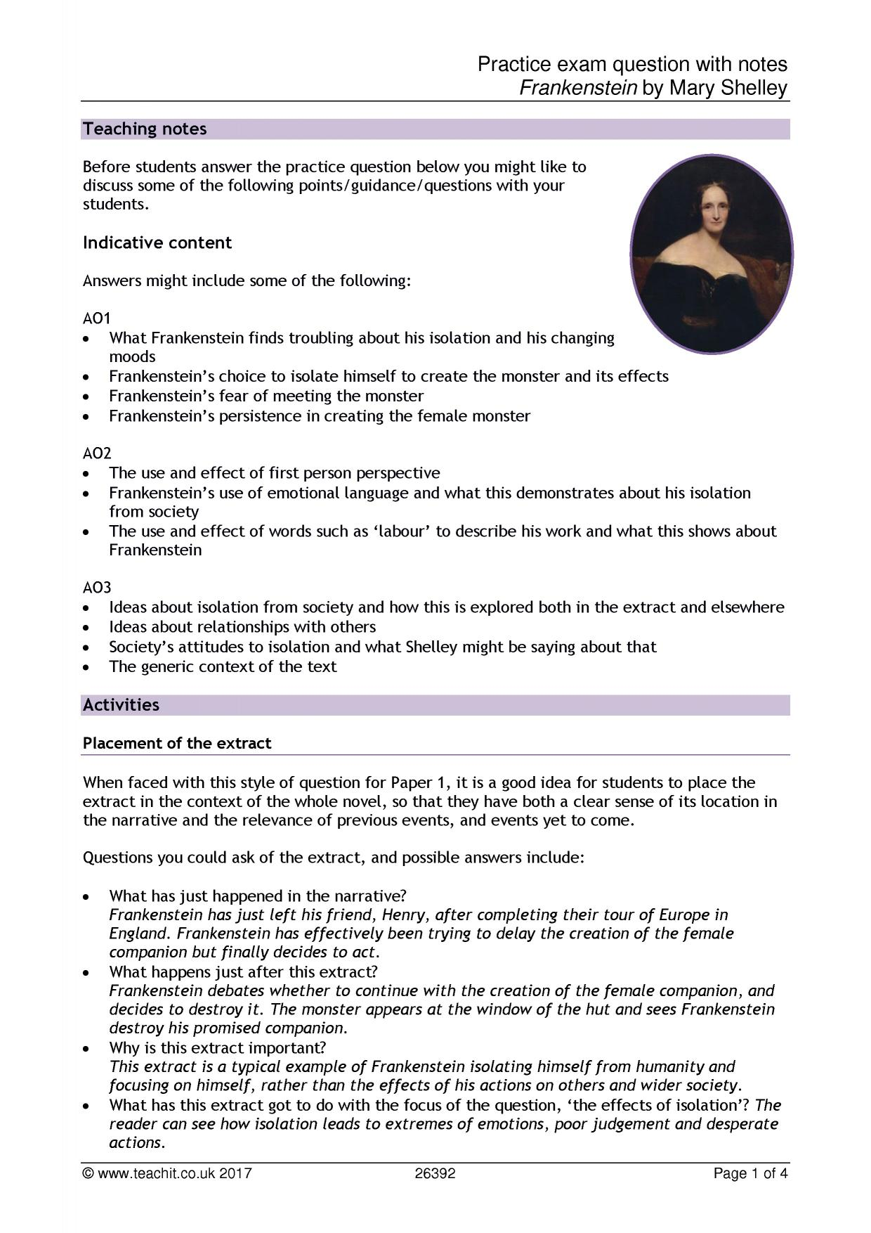 frankenstein by mary shelley search results teachit english rh teachitenglish co uk Frankenstein SparkNotes Frankenstein Chapter Questions and Answers
