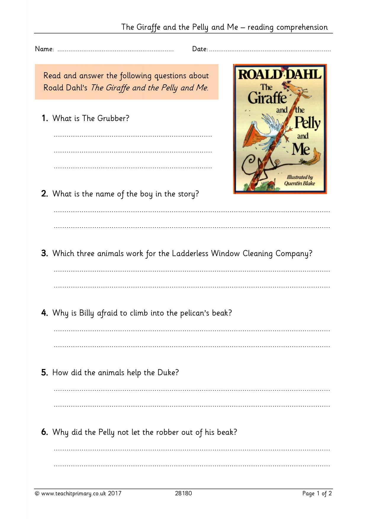 - The Giraffe And The Pelly And Me – Reading Comprehension