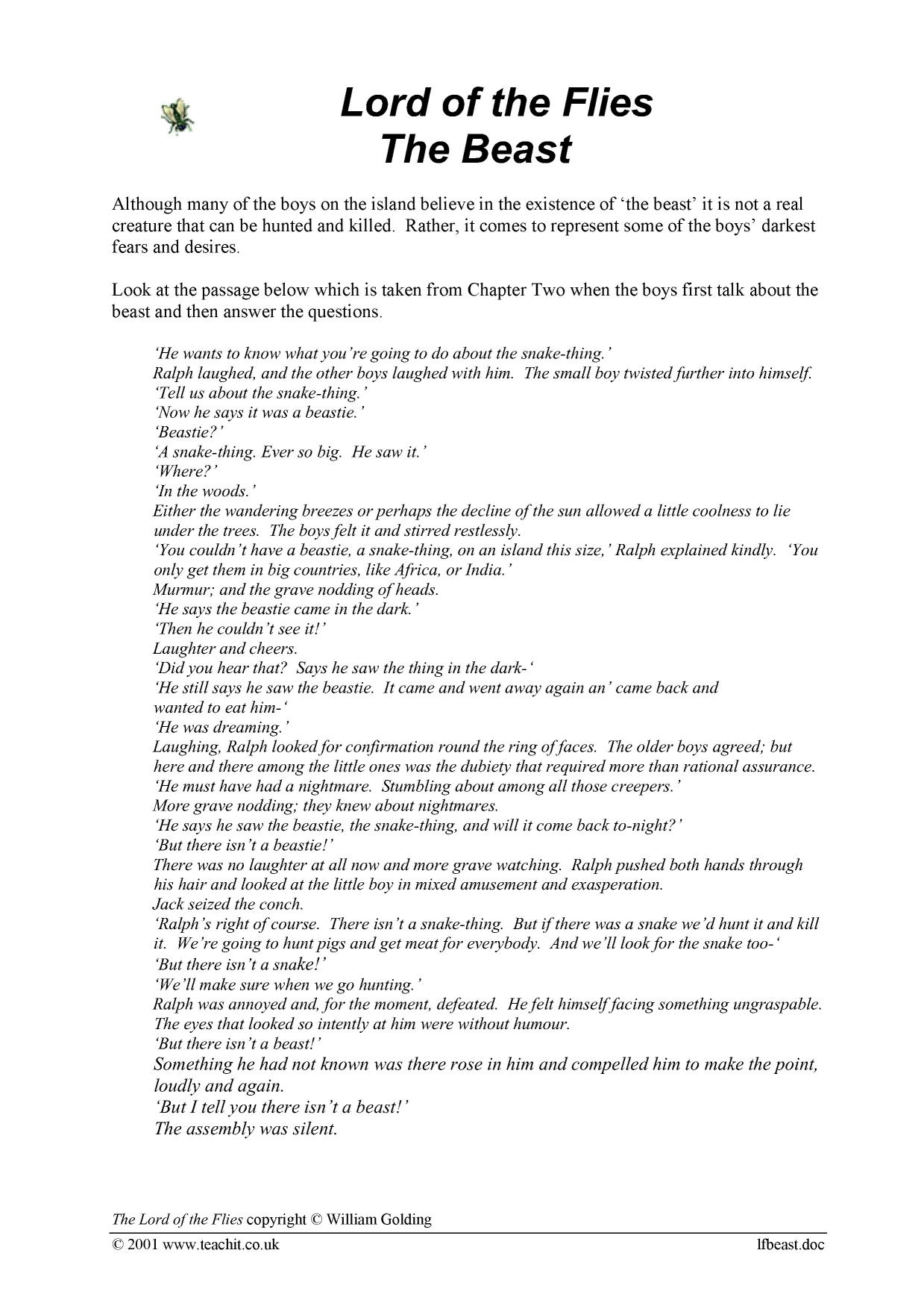 essay questions answers lord flies Good lord of the flies essay questions for college and high school.