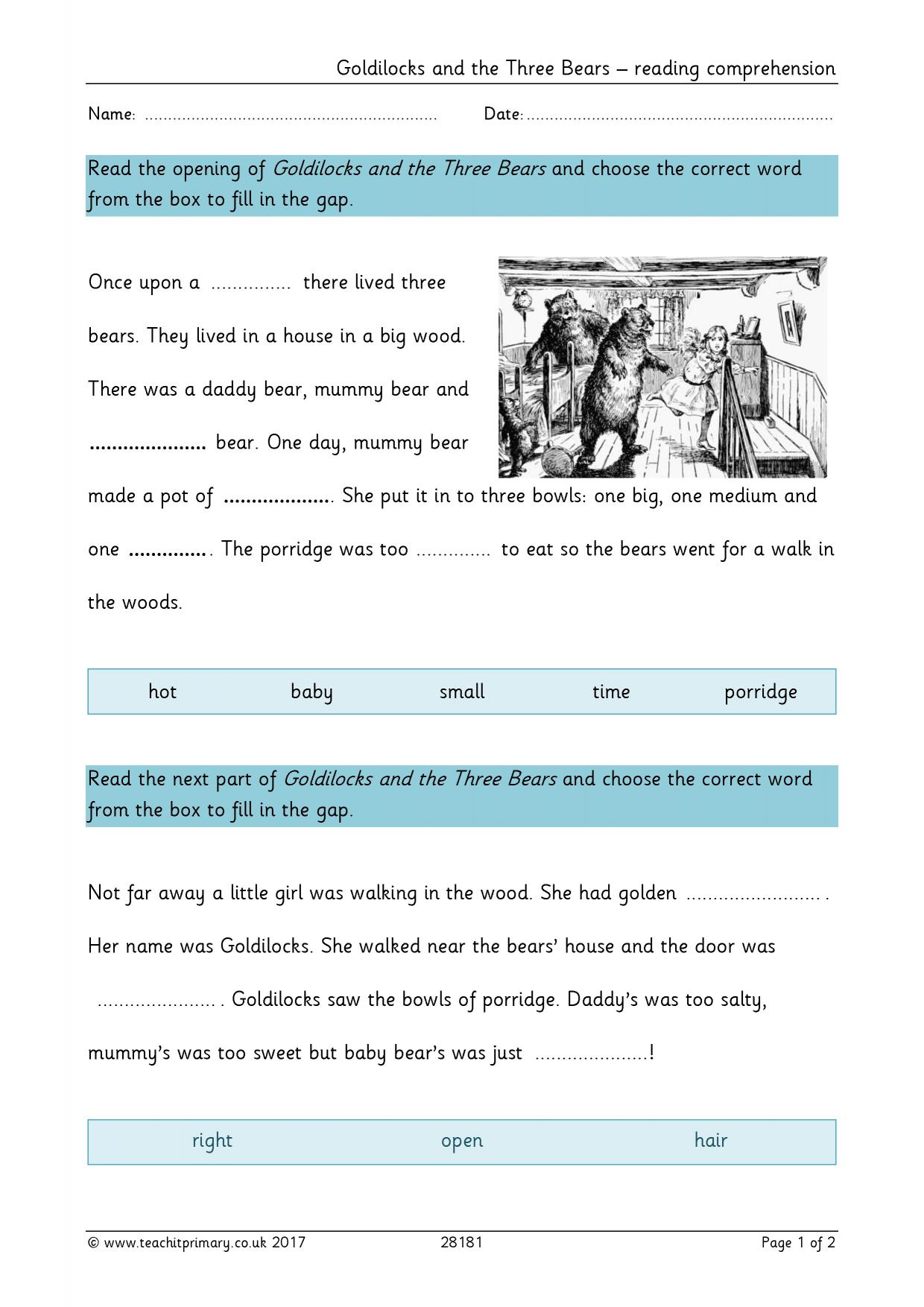 - Goldilocks And The Three Bears – Reading Comprehension