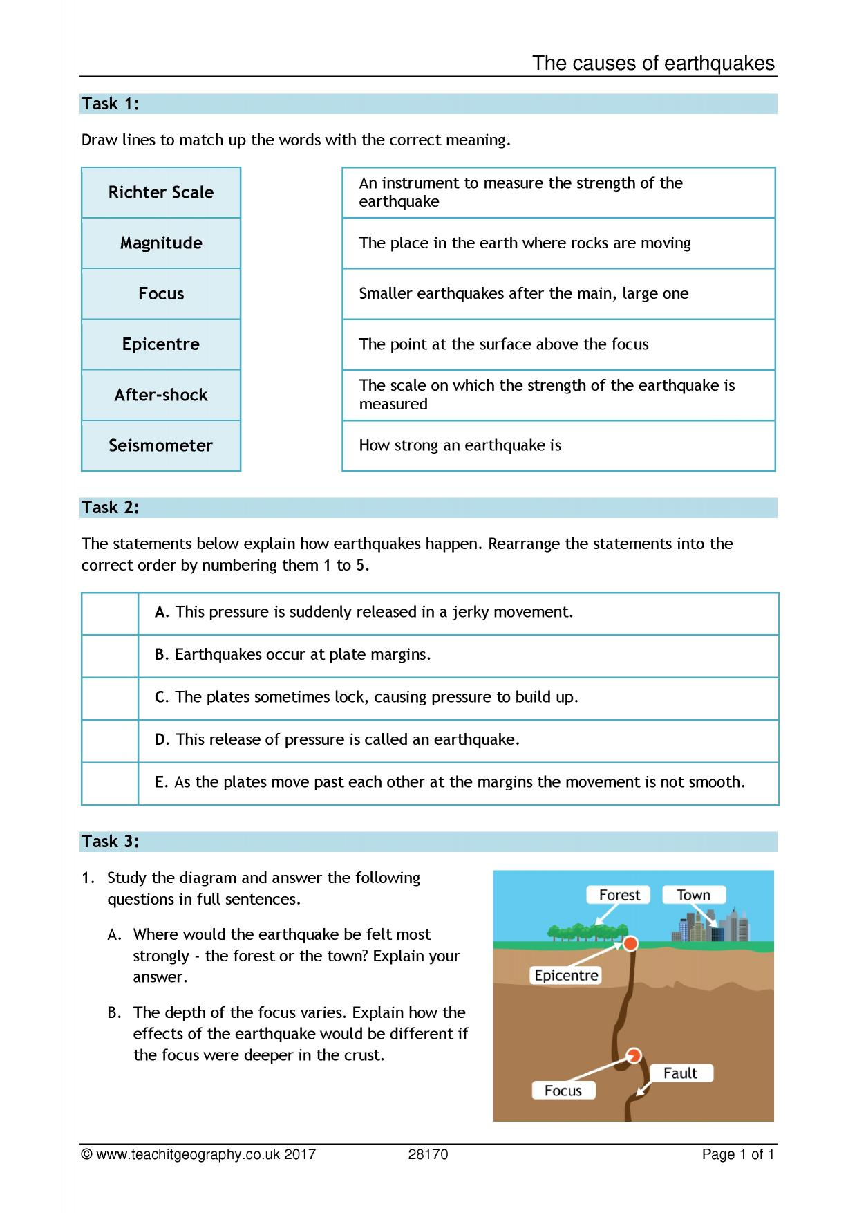 worksheet Earthquakes Worksheet ks4 earthquakes teachit geography 1 preview