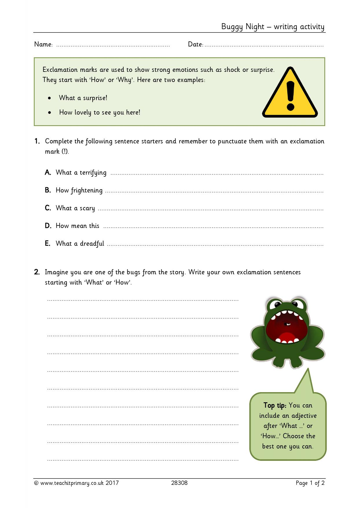 teachit primary writing composition resources for eyfs and ks buggy night writing activity